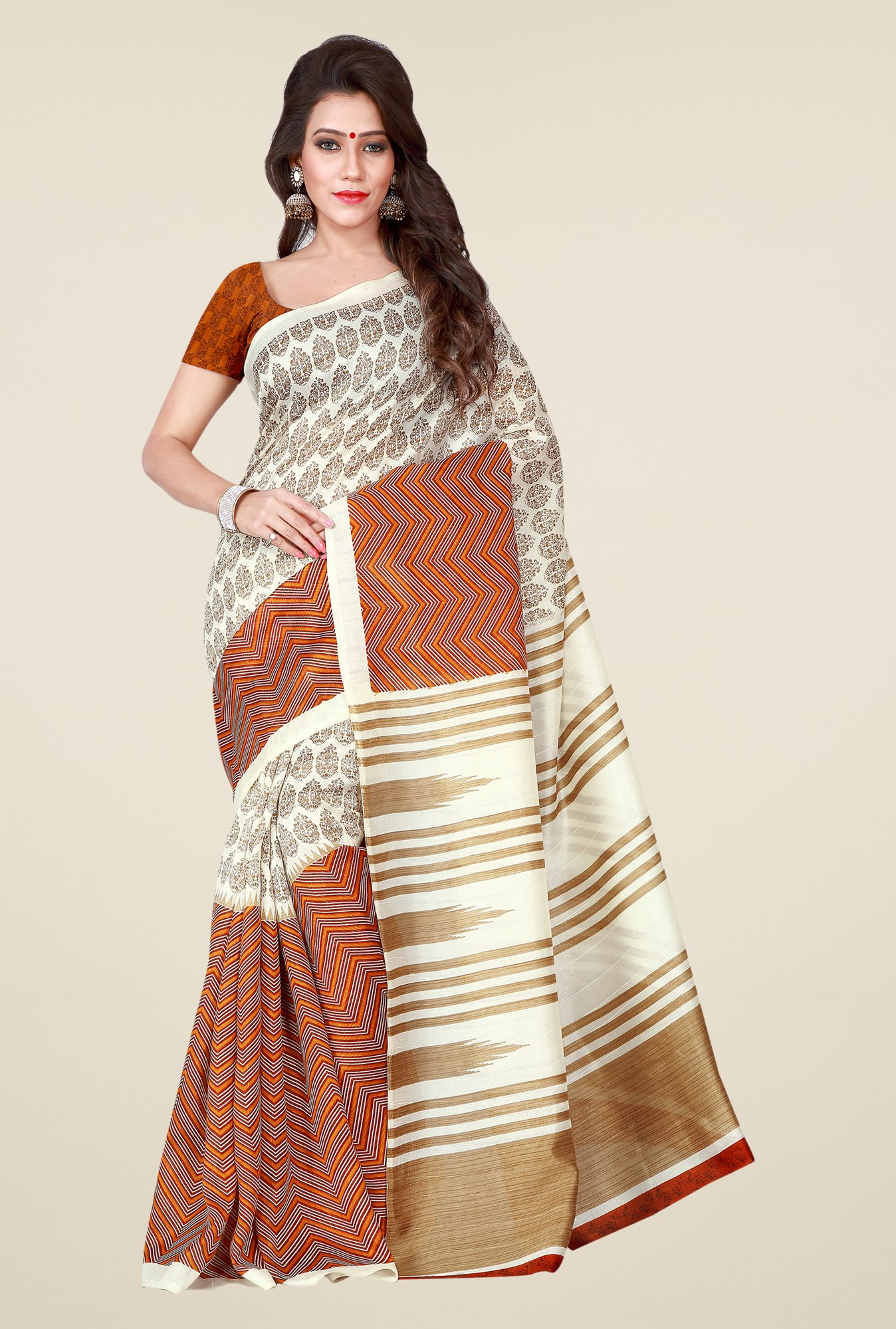 Shonaya Off White & Rust Bhagalpuri Art Silk Printed Saree