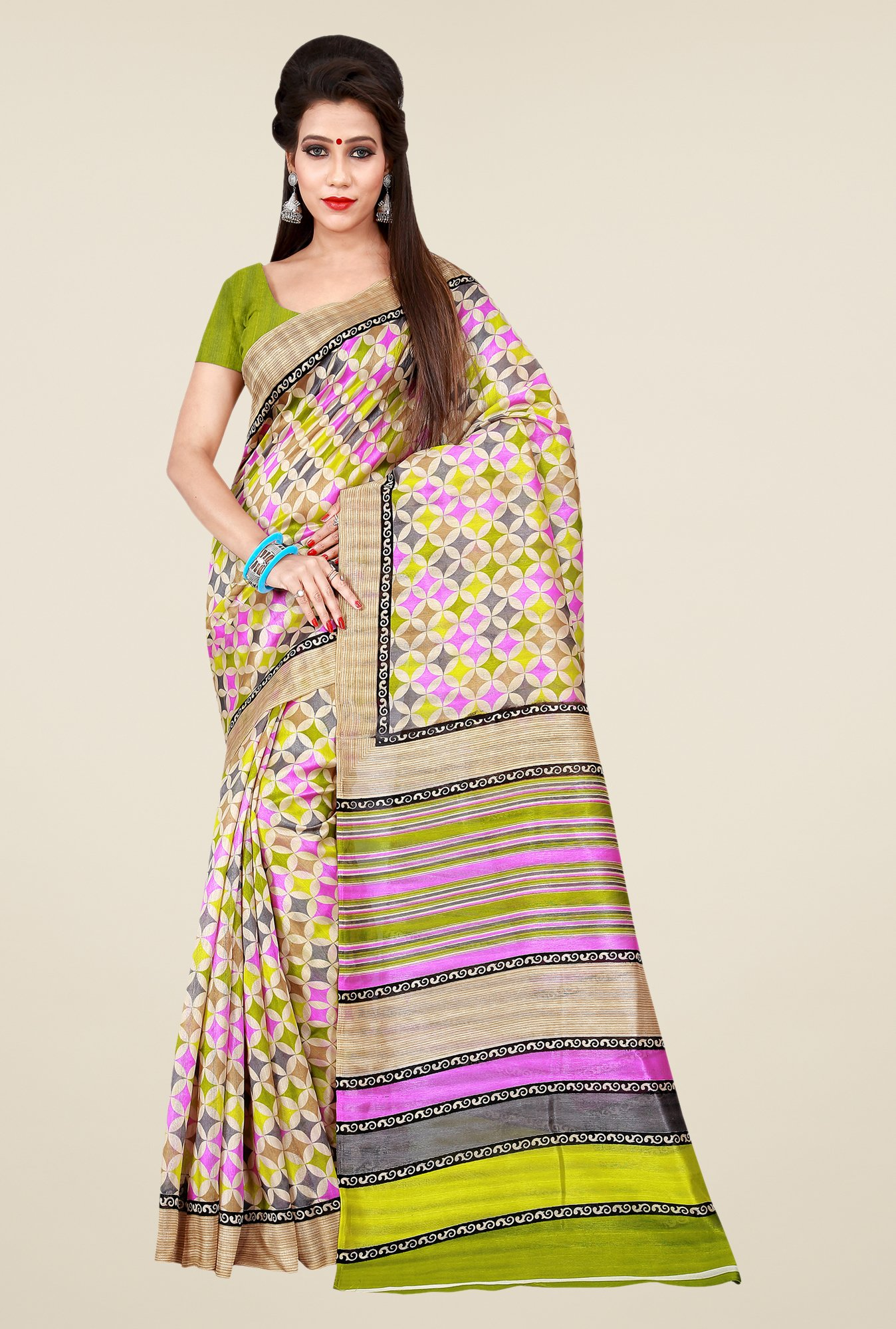 Shonaya Multicolor Bhagalpuri Art Silk Printed Saree