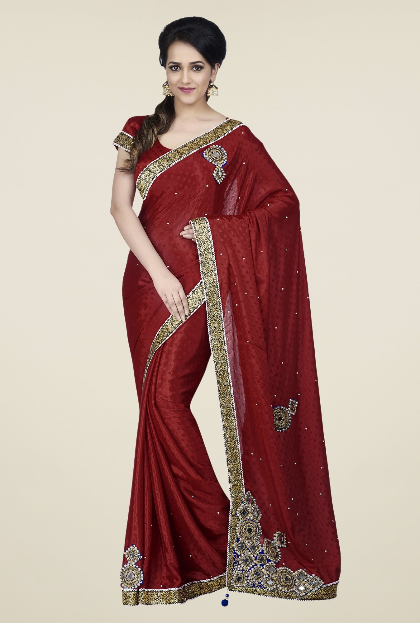 Shonaya Red Jacquard Embroidered Saree