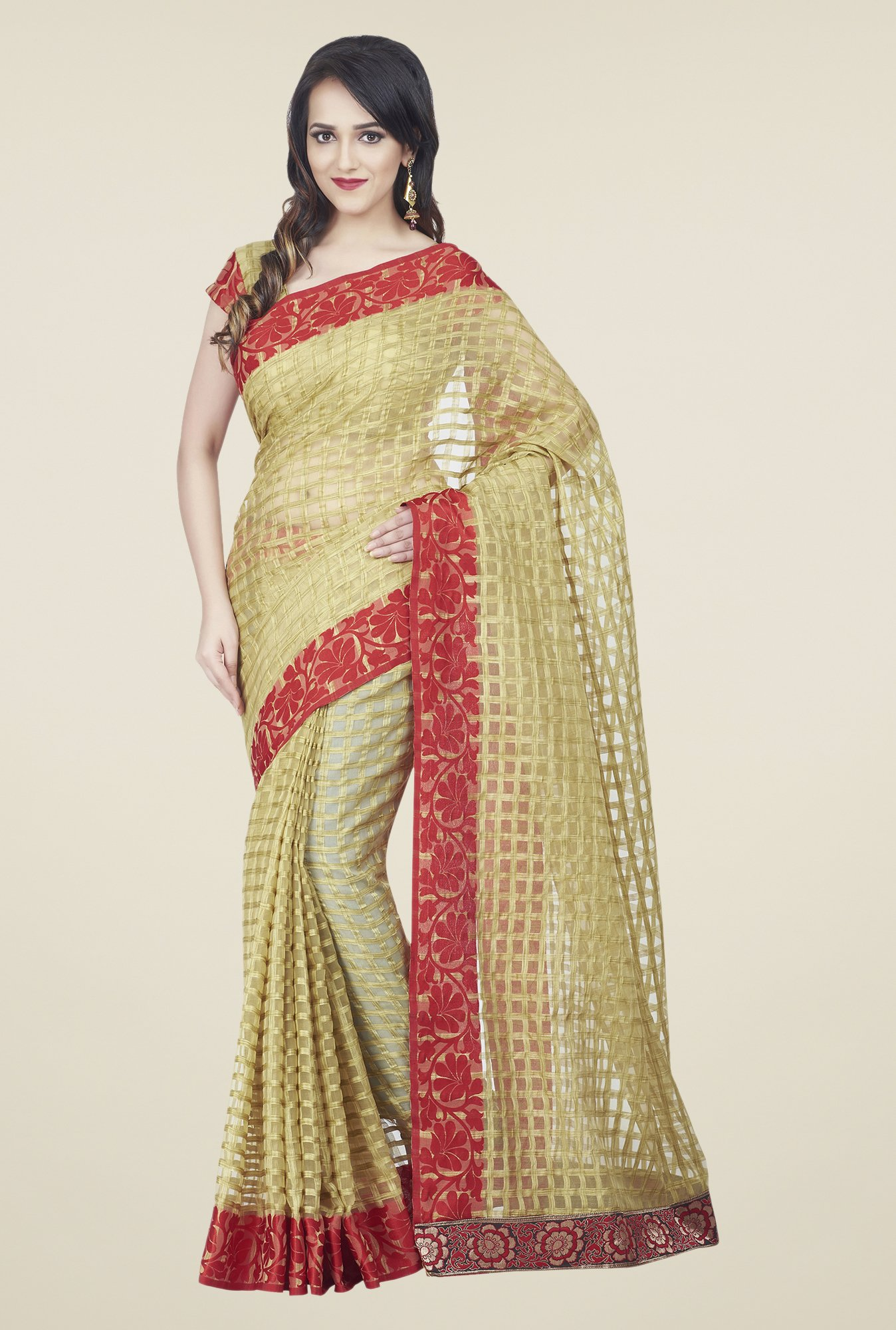 Shonaya Beige & Red Jacquard Checks Saree