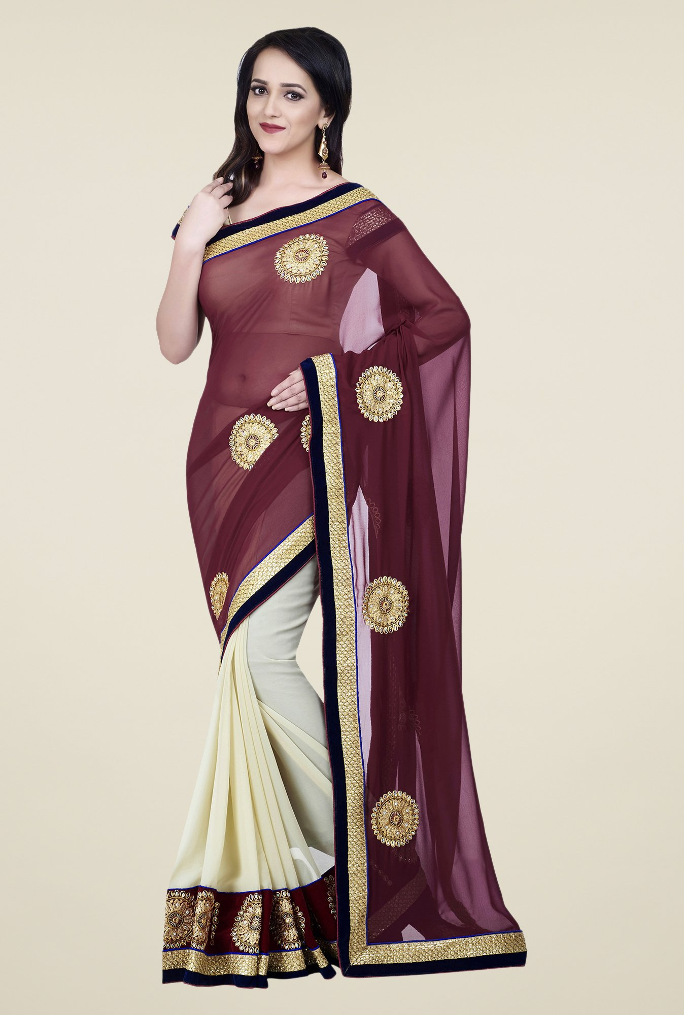 Shonaya Maroon & Off White Georgette Embroidered Saree