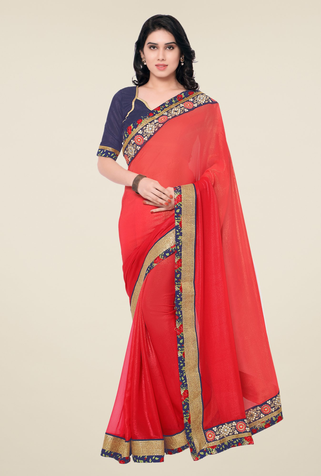 Shonaya Coral Georgette Embroidered Saree