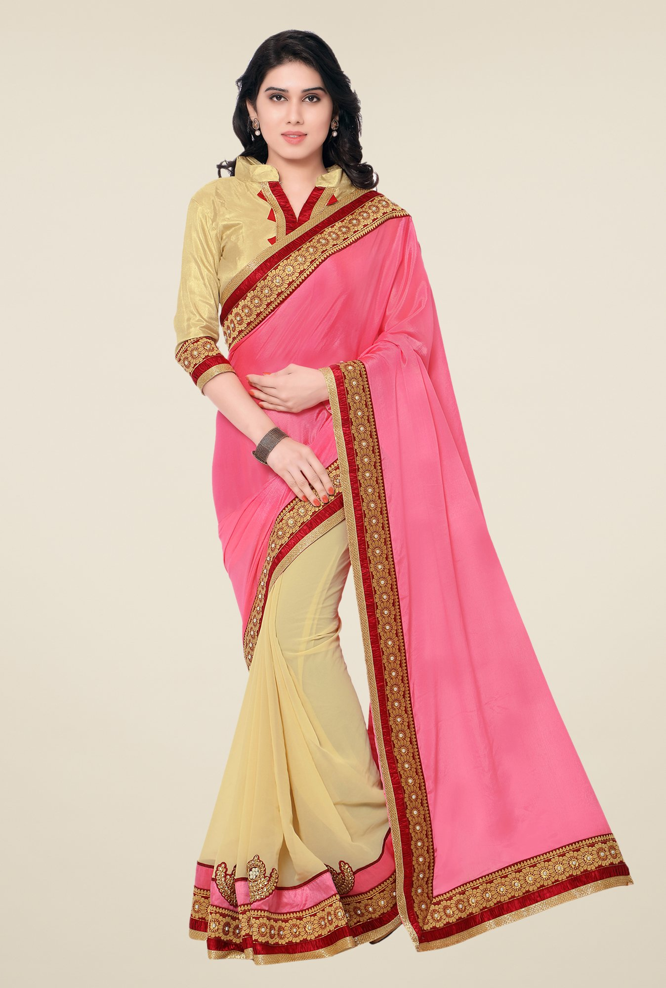 Shonaya Pink & Beige Chinnon & Georgette Embroidered Saree