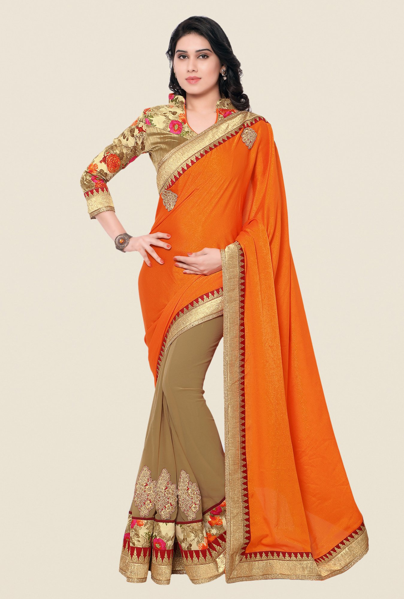 Shonaya Beige & Orange Crepe Jacquard & Georgette Saree