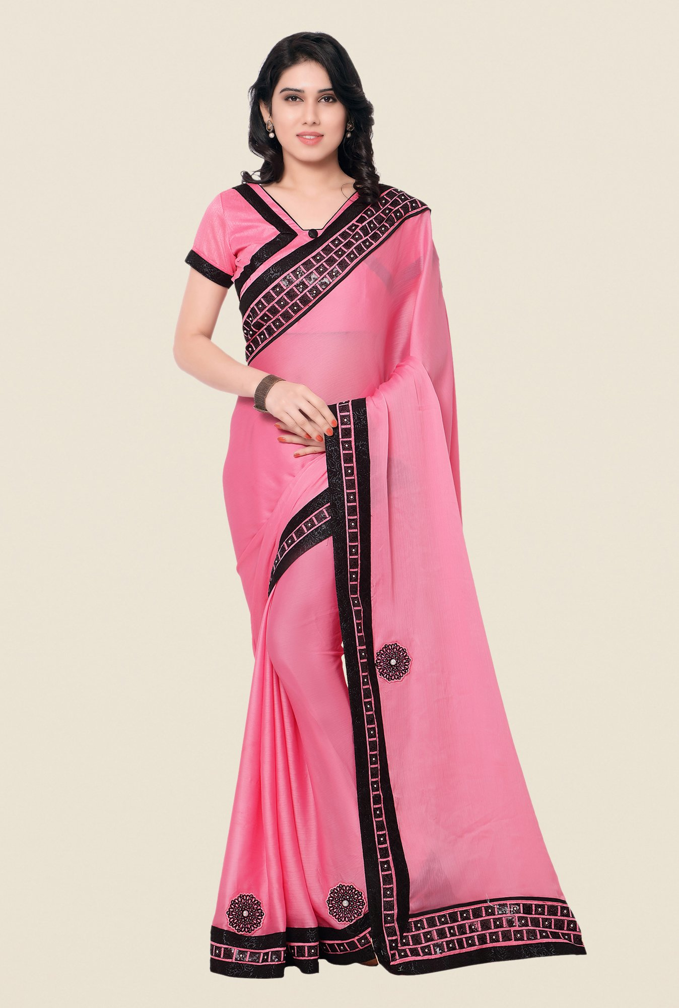 Shonaya Pink Satin Chiffon Embroidered Saree