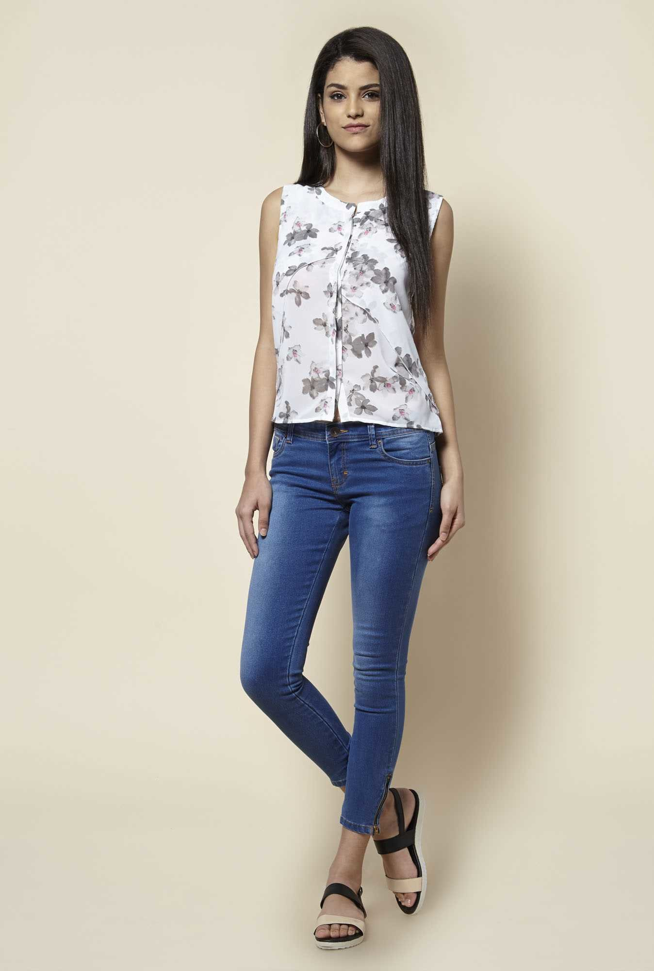 Zudio Off White Floral Print Blouse