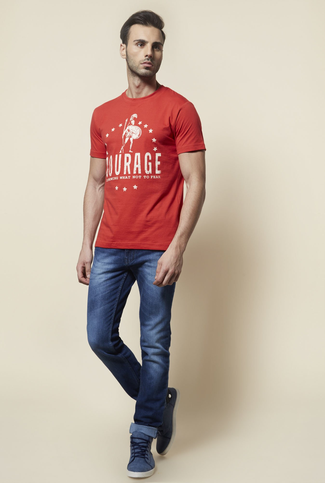 Zudio Rust Printed T Shirt
