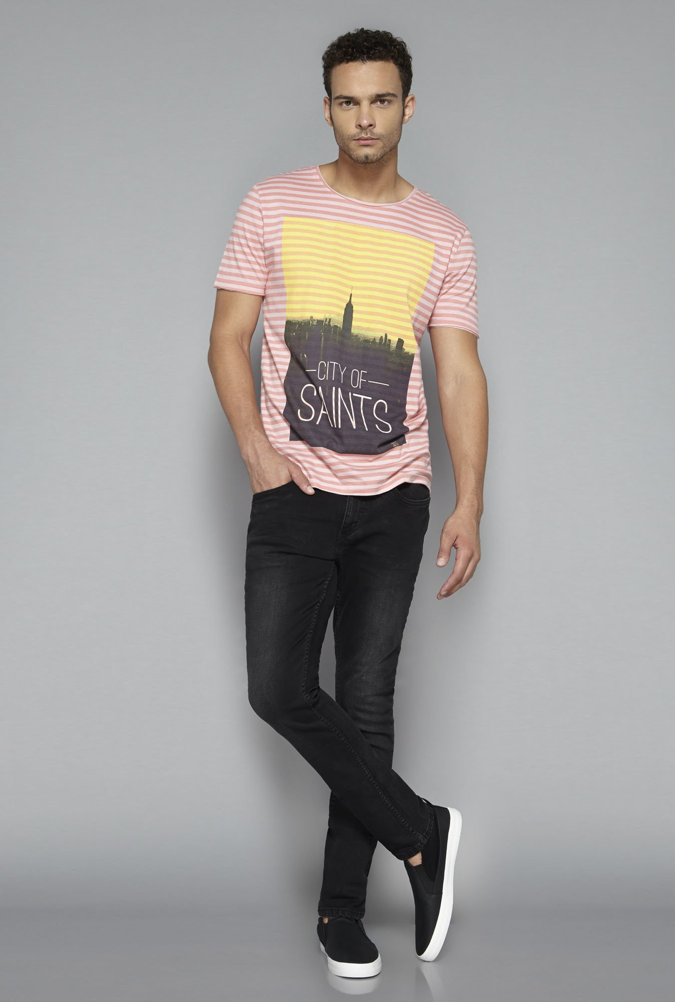 Nuon by Westside Peach Striped T Shirt