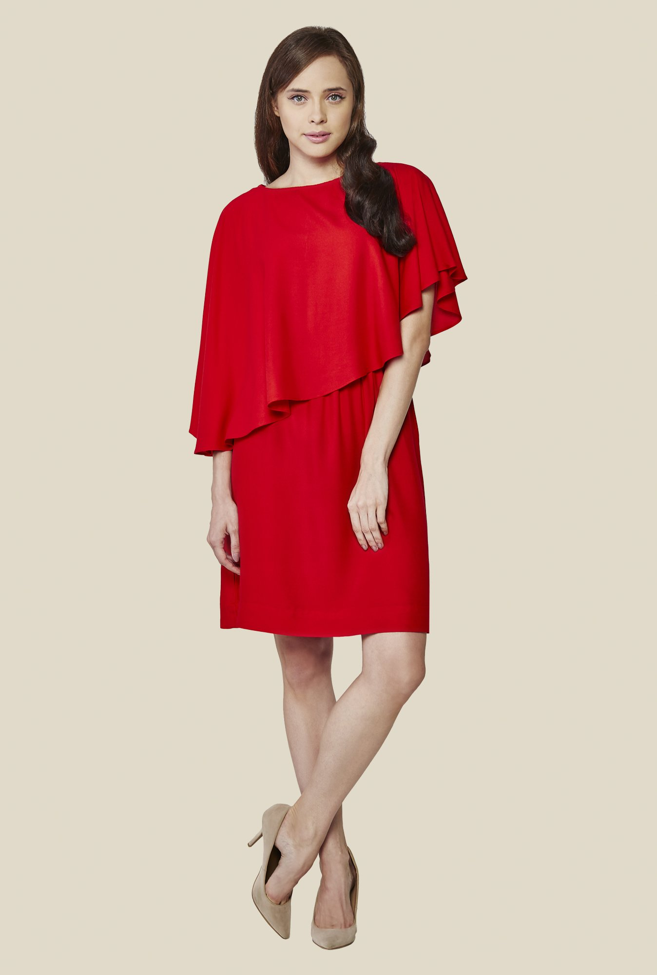 AND Red Solid Rayon Dress