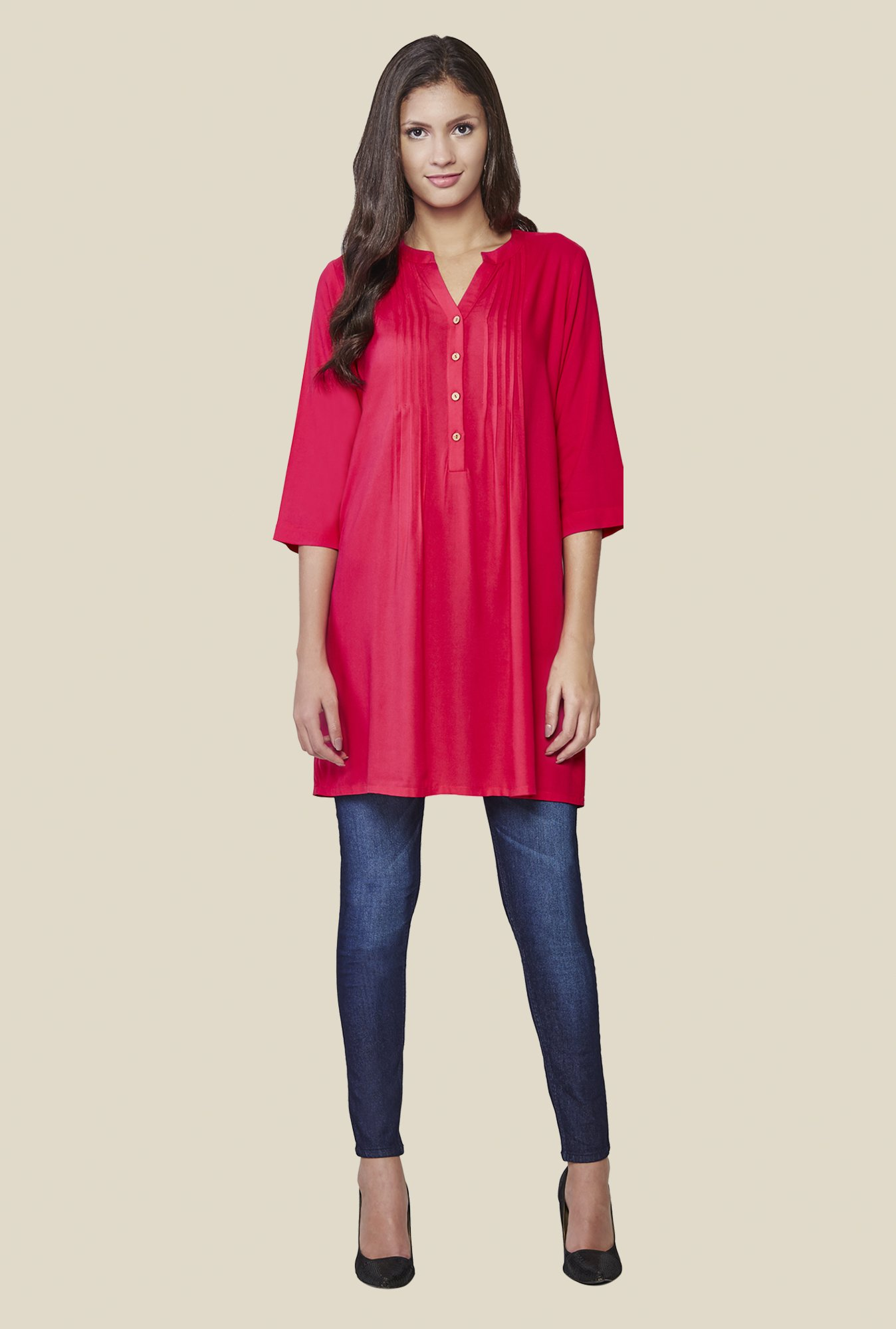 AND Pink Solid Tunic