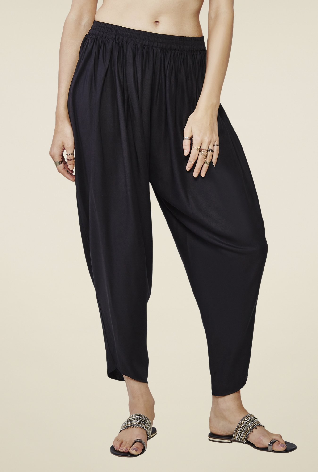 Global Desi Black Solid Pants