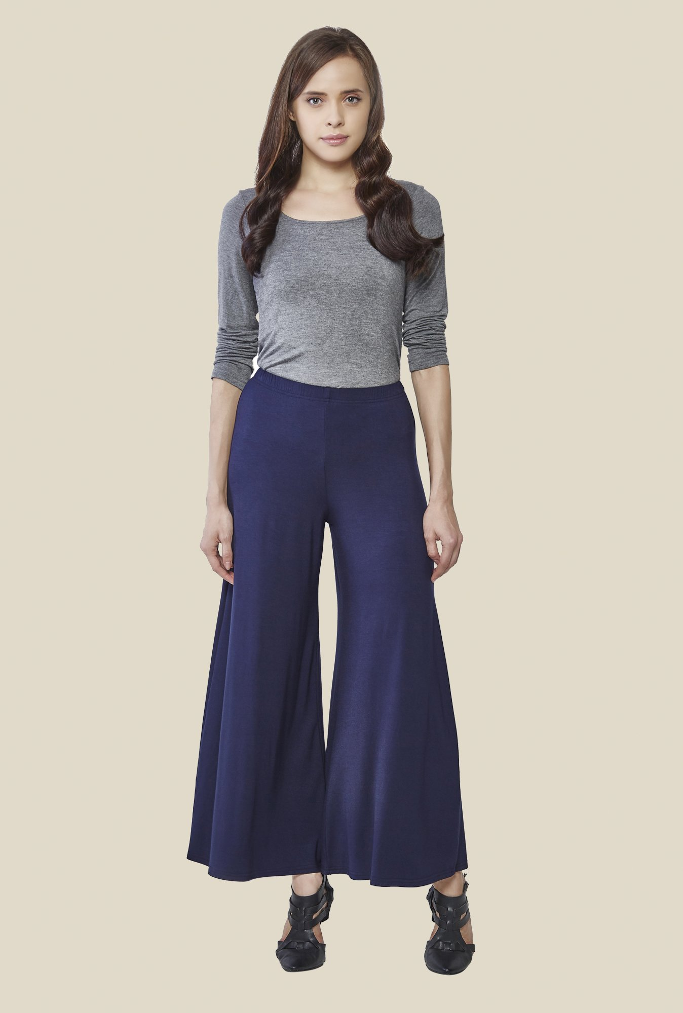 AND Navy Solid Relaxed Fit Palazzos