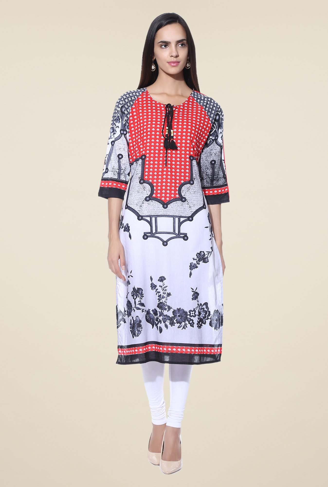 Shree Grey & Red Printed Cotton Kurta