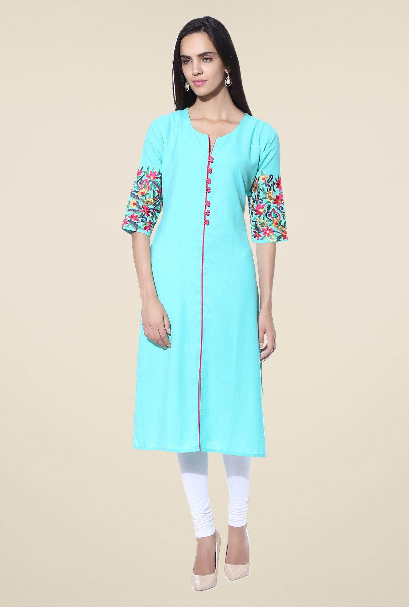 Shree Sky Blue Embroidered Cotton Kurta