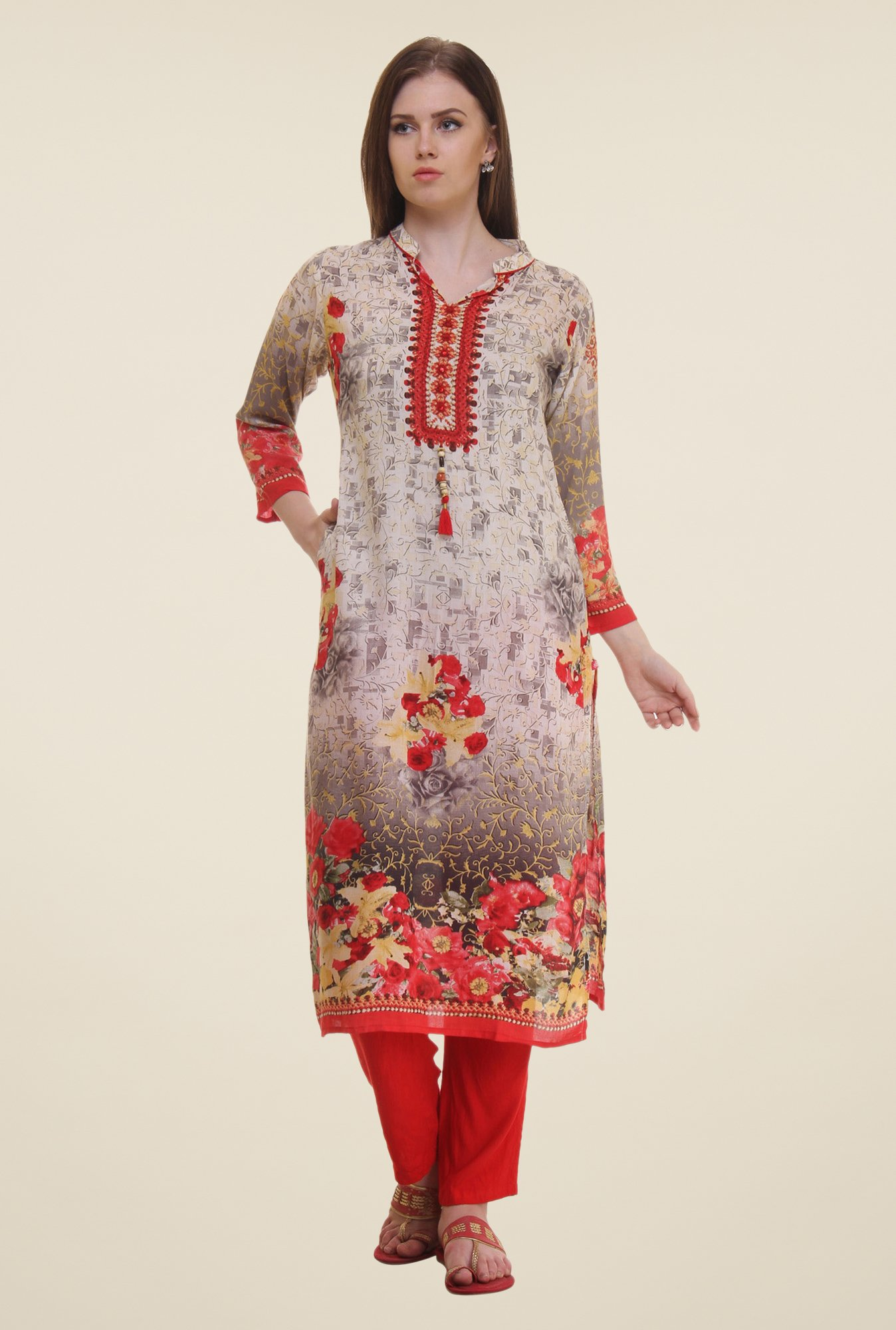 Shree Cream & Red Floral Print Rayon Kurta