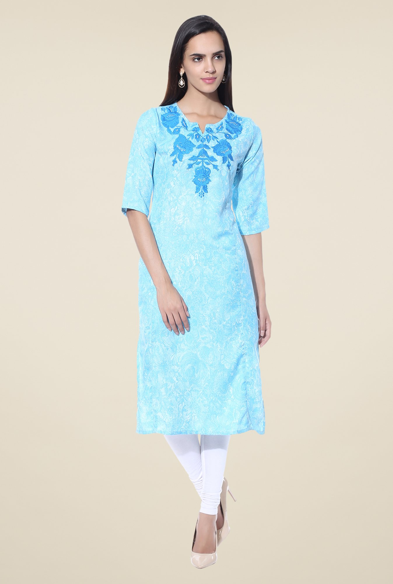 Shree Turquoise Embroidered Blended Kurta