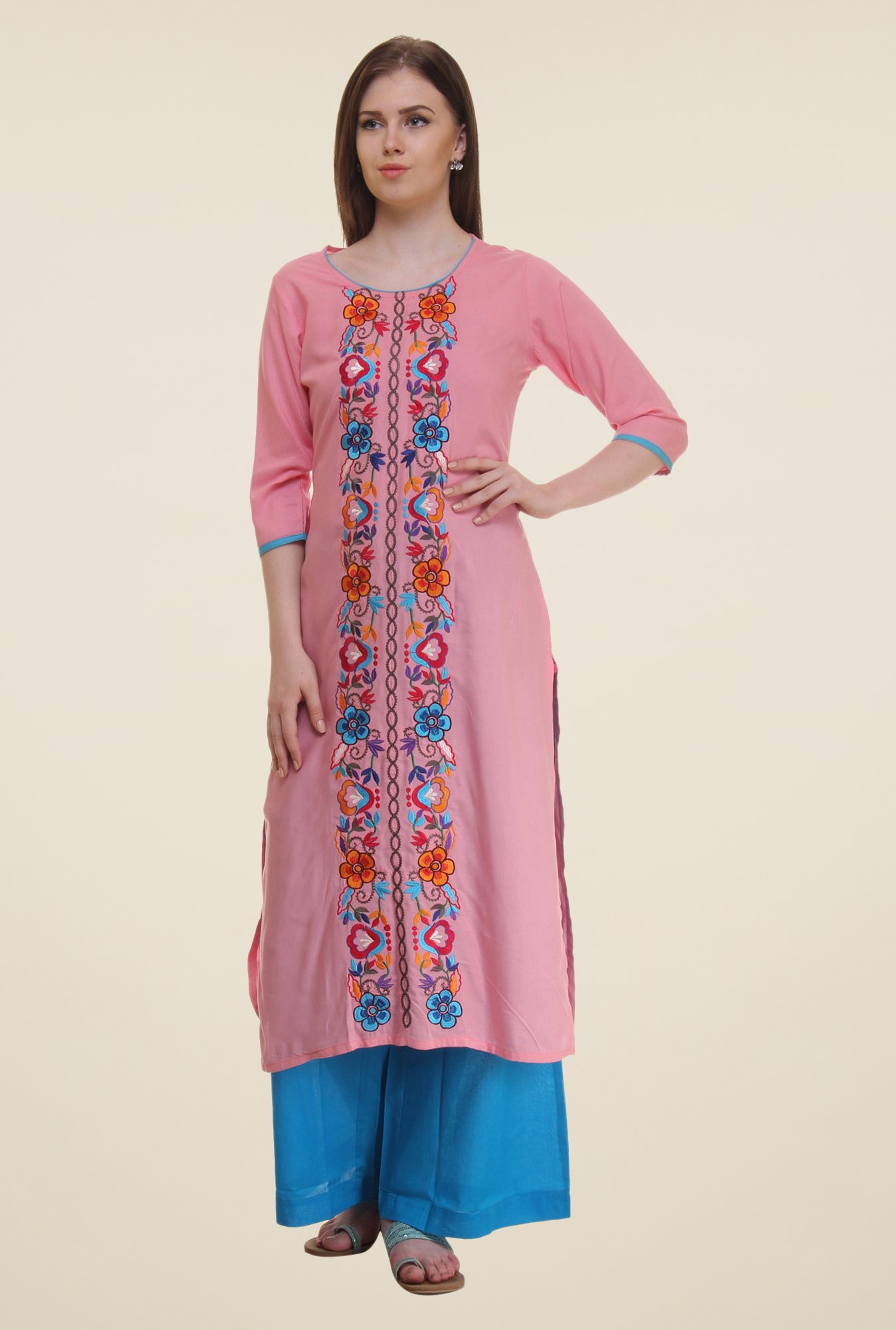 Shree Pink Embroidered Rayon Kurta