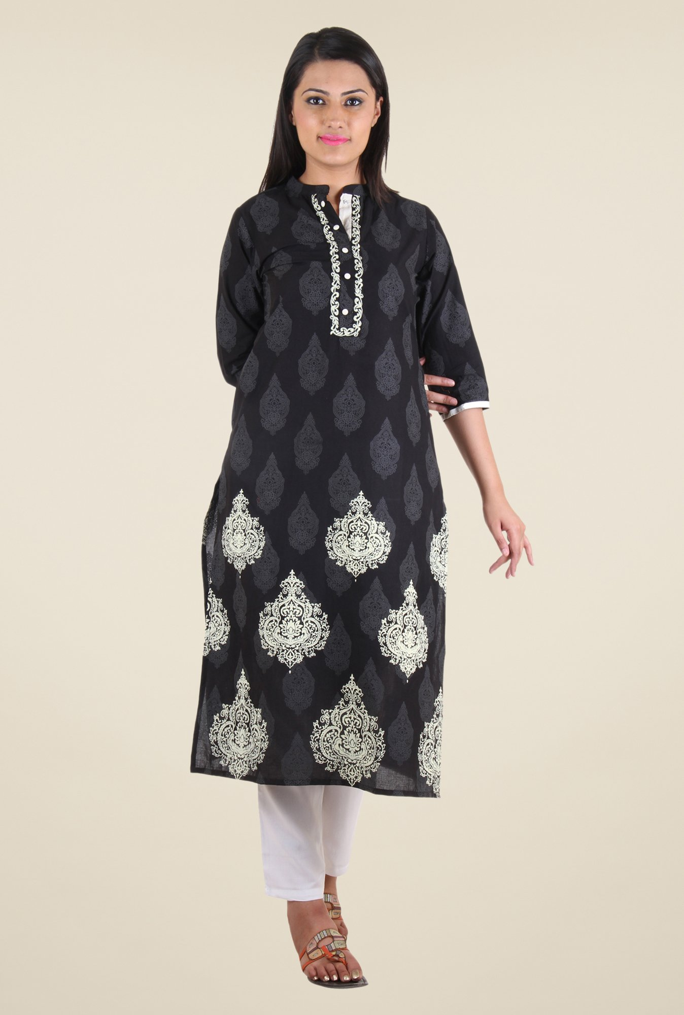 Shree Black Block Print Cotton Kurta
