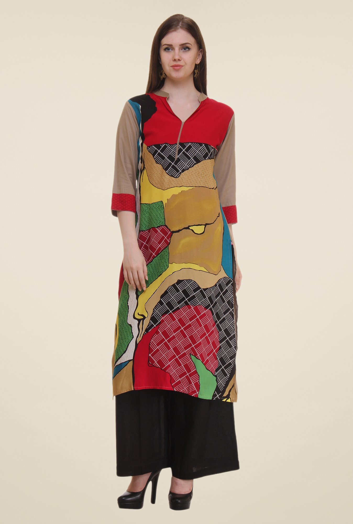 Shree Multicolor Printed Rayon Kurta