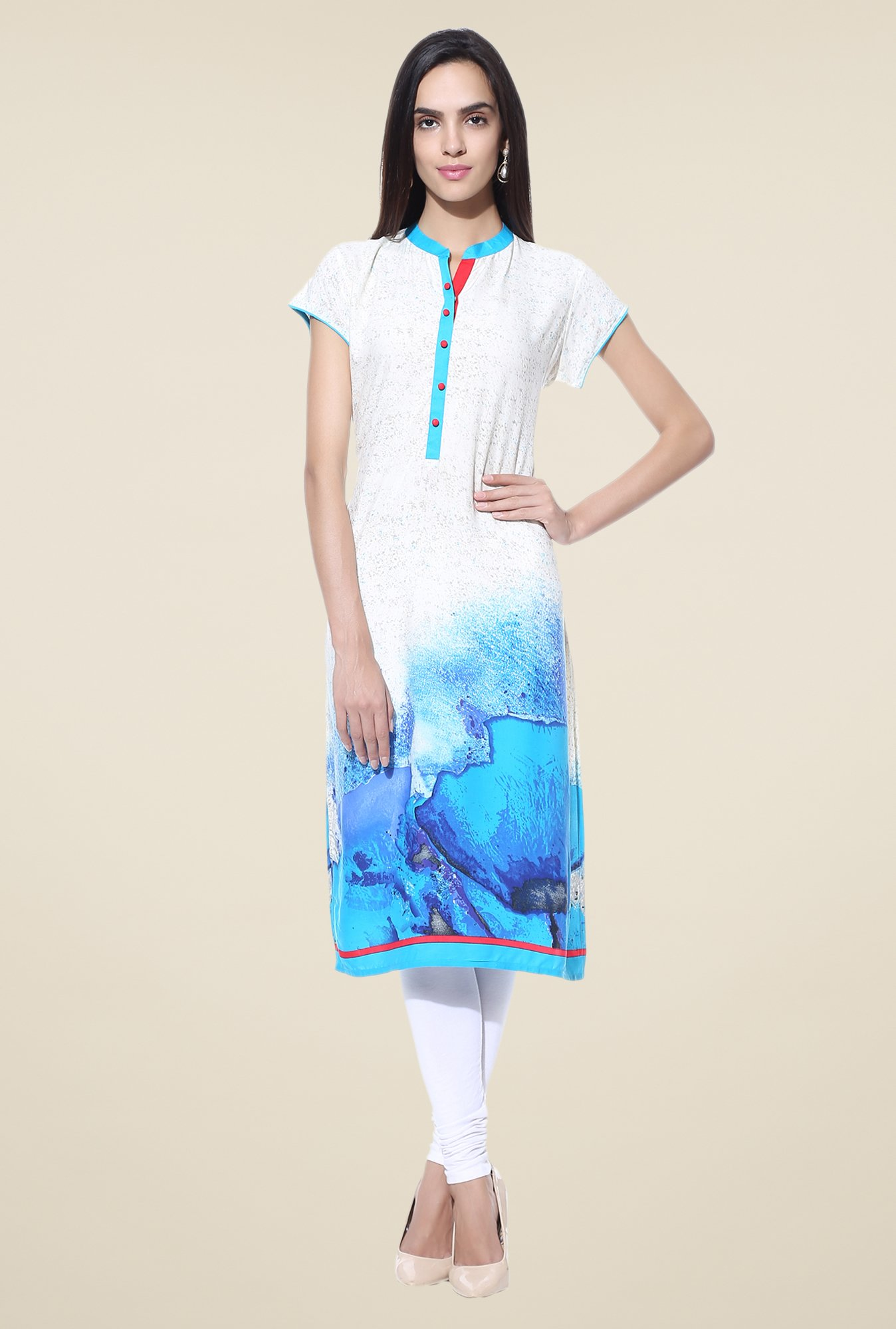 Shree Off White & Blue Printed Rayon Kurta