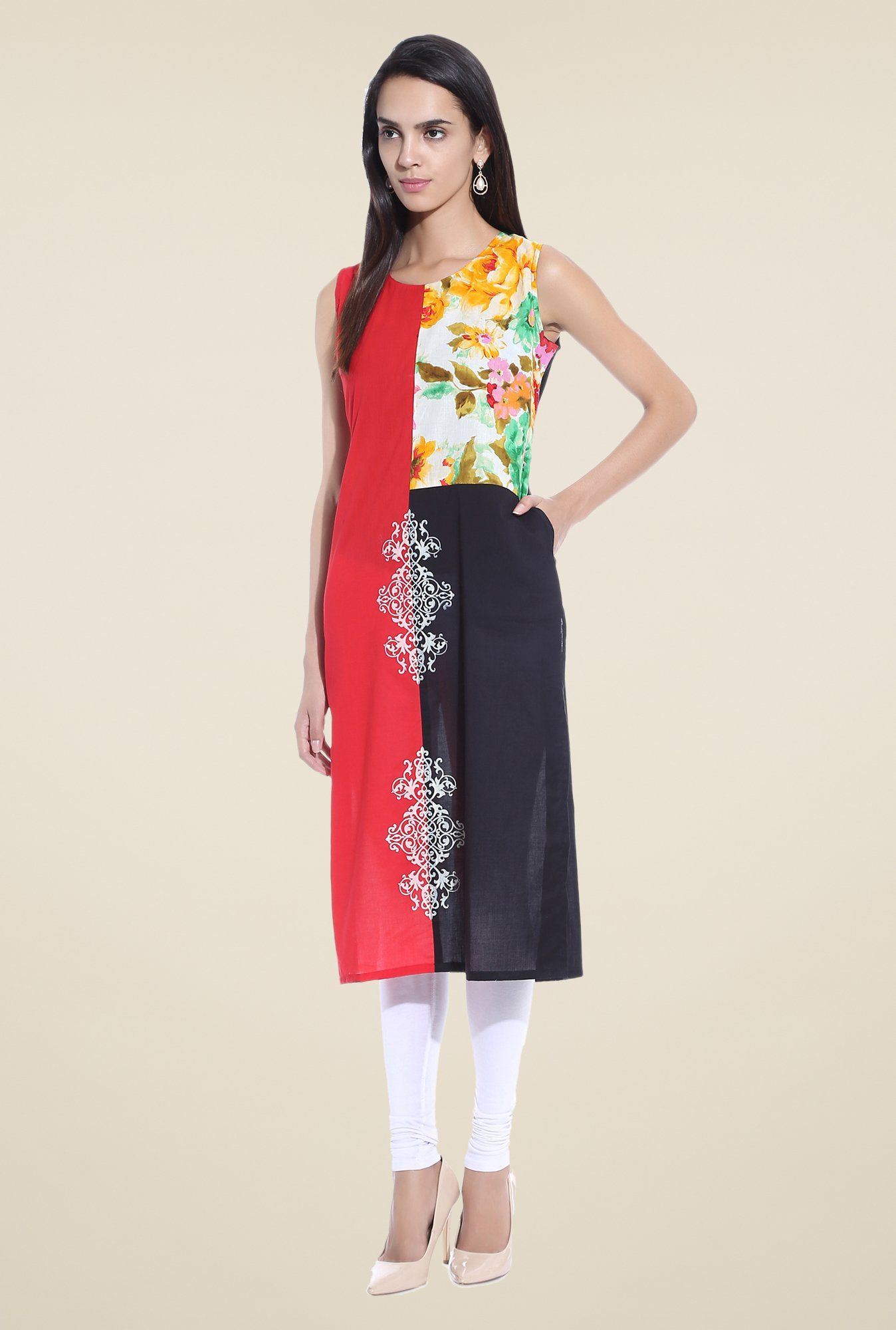 Shree Red Printed Cotton Kurta