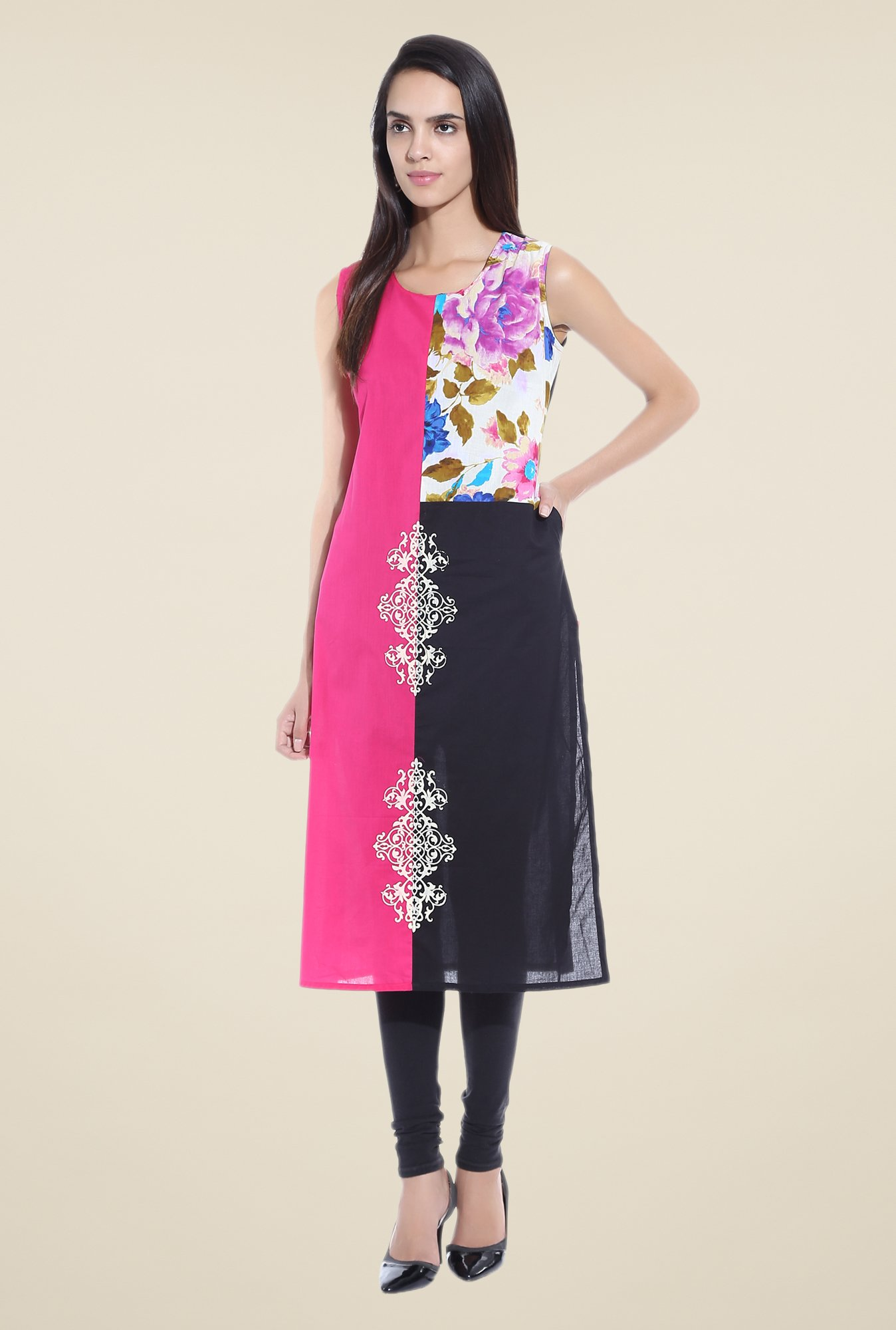 Shree Pink Printed Cotton Kurta