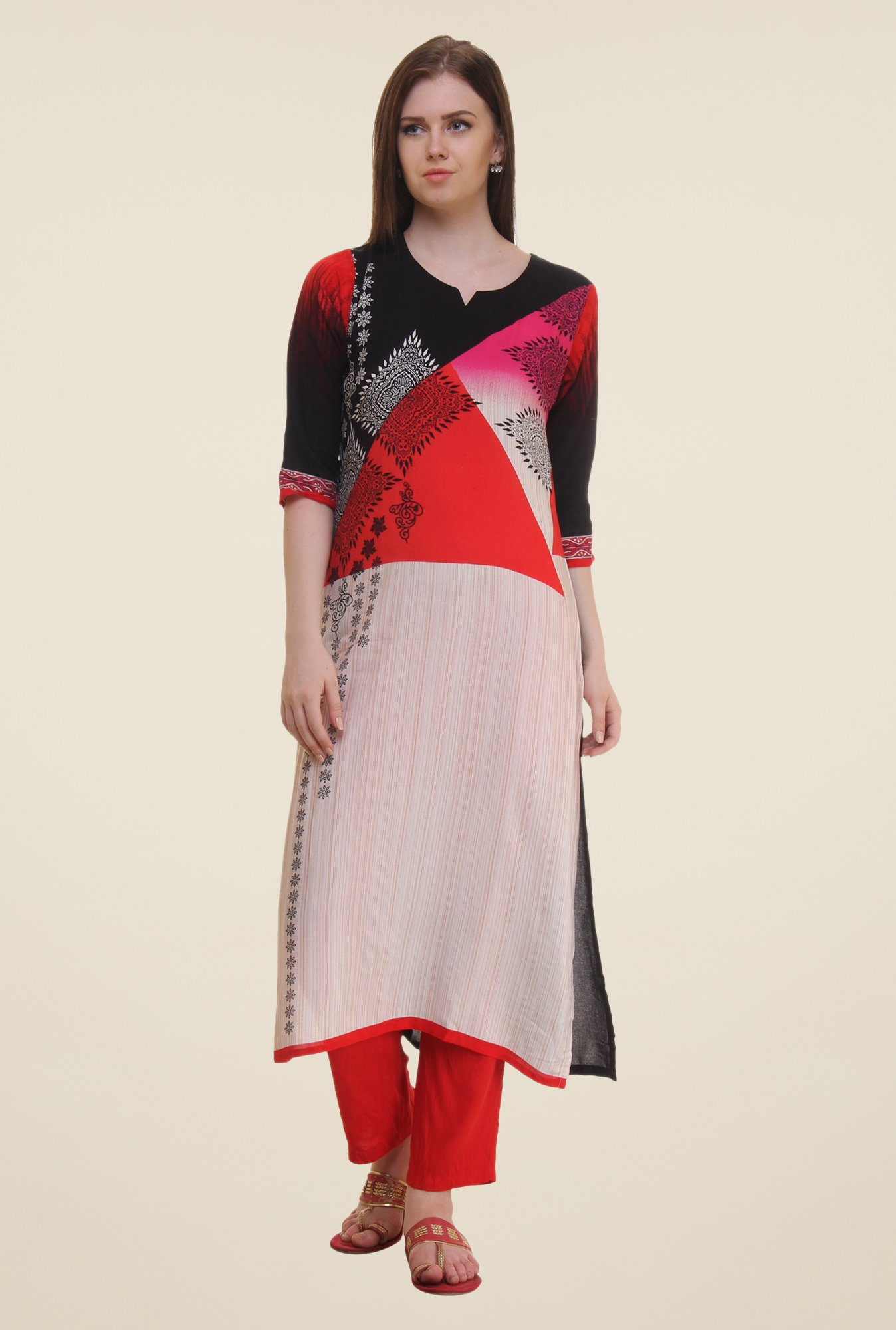 Shree Beige & Red Printed Rayon Kurta