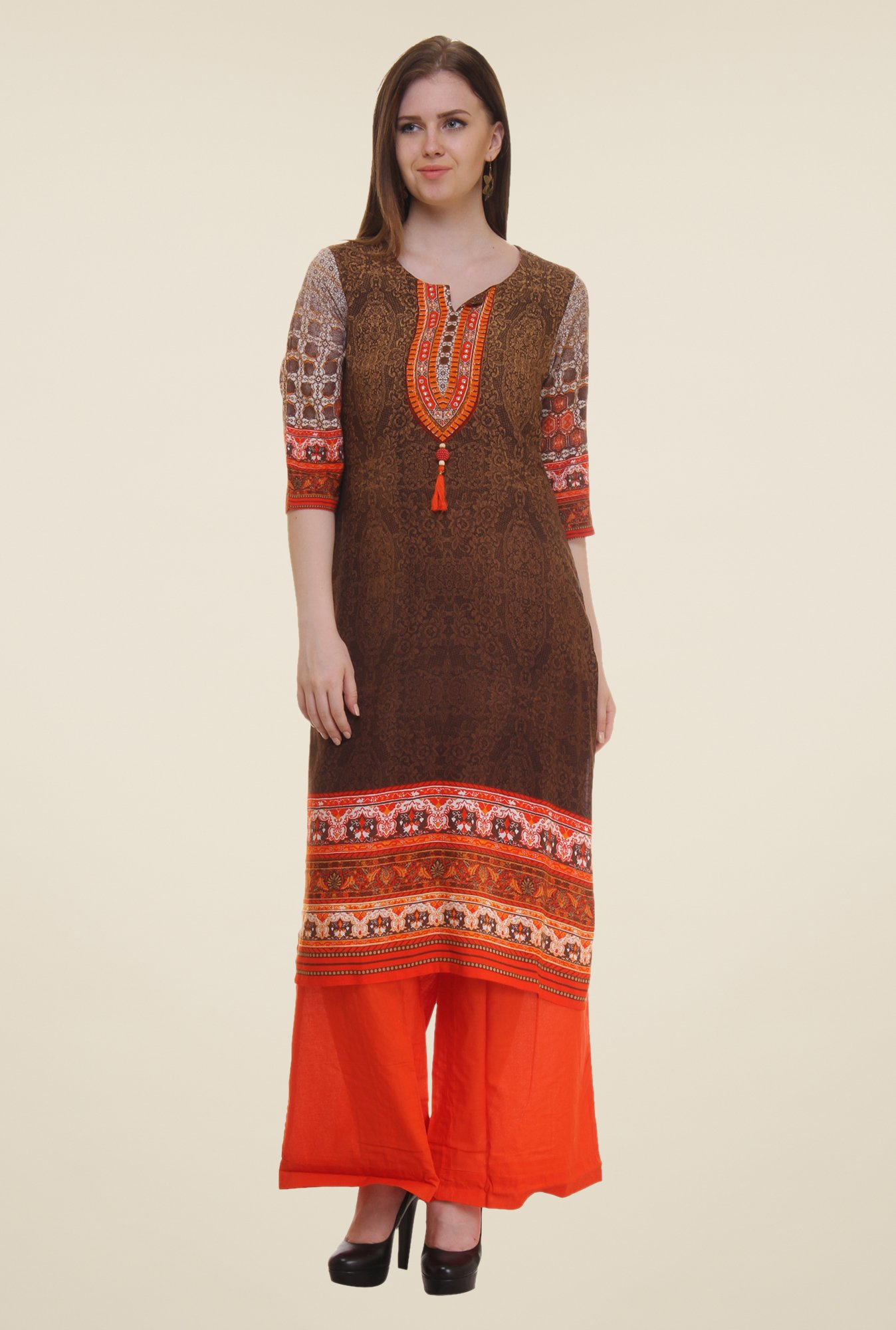 Shree Brown Printed Rayon Kurta