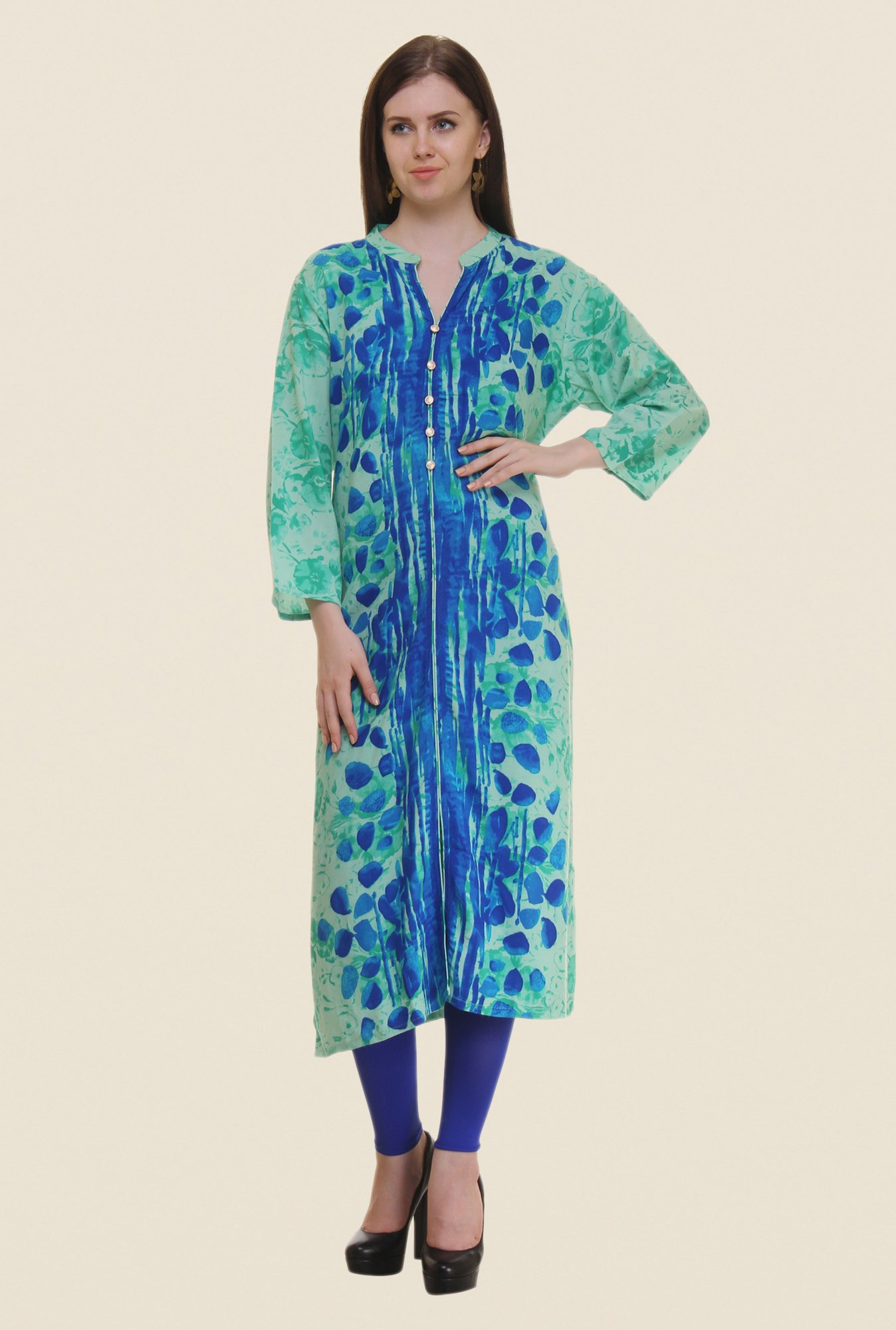 Shree Green & Blue Printed Rayon Kurta