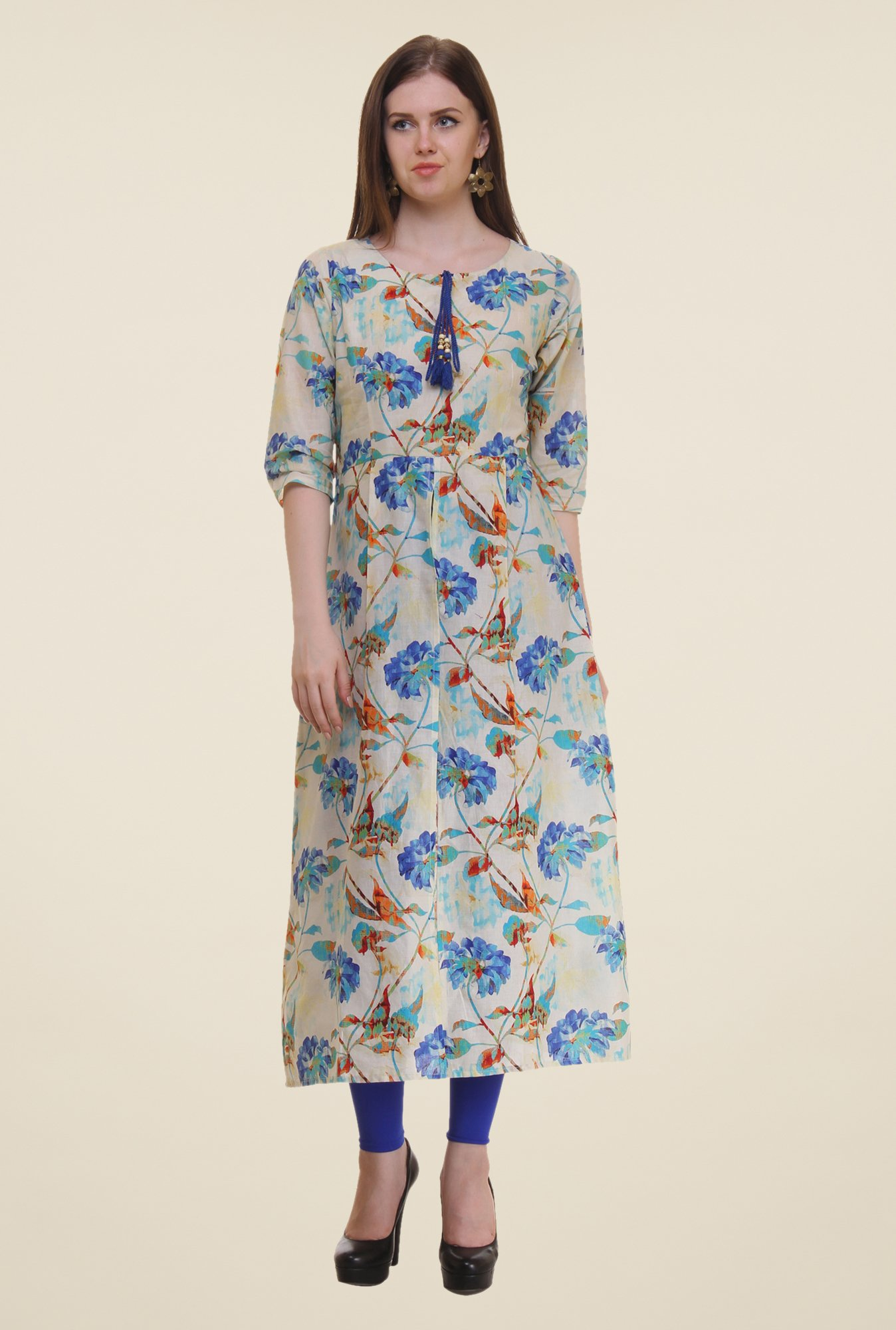 Shree Blue & Beige Floral Print Cotton Kurta