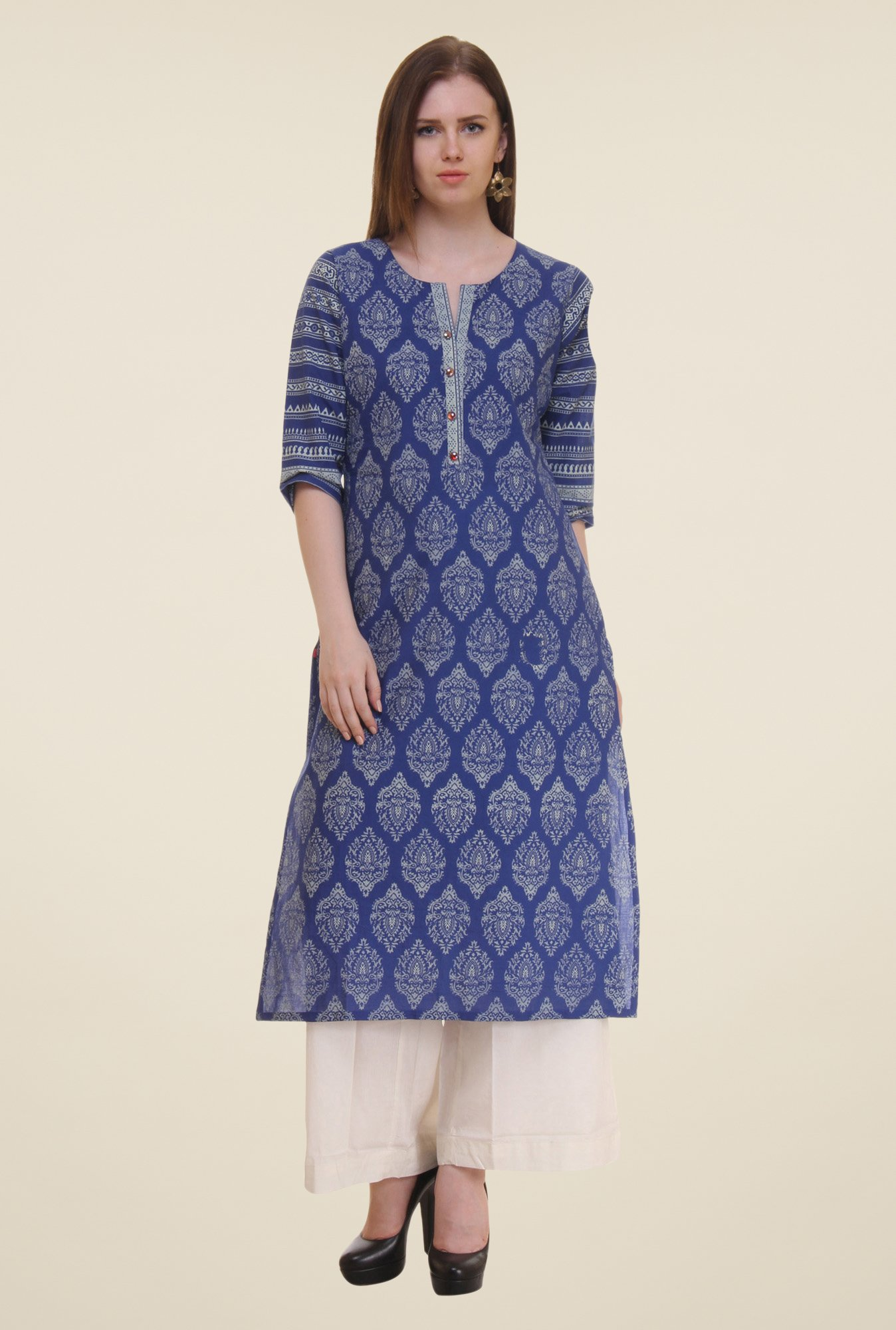 Shree Dark Blue Block Print Cotton Kurta