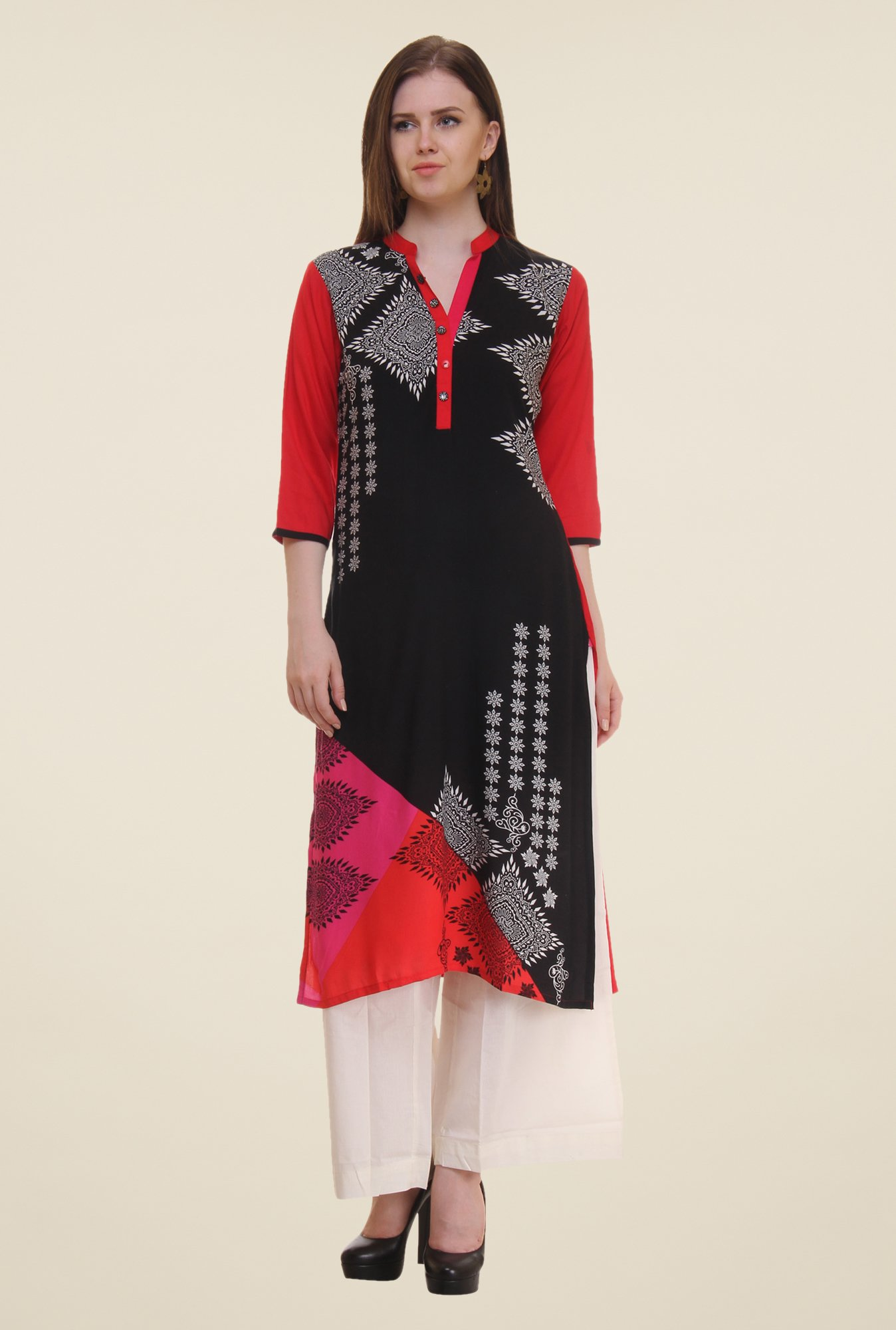 Shree Black & Red Printed Rayon Kurta