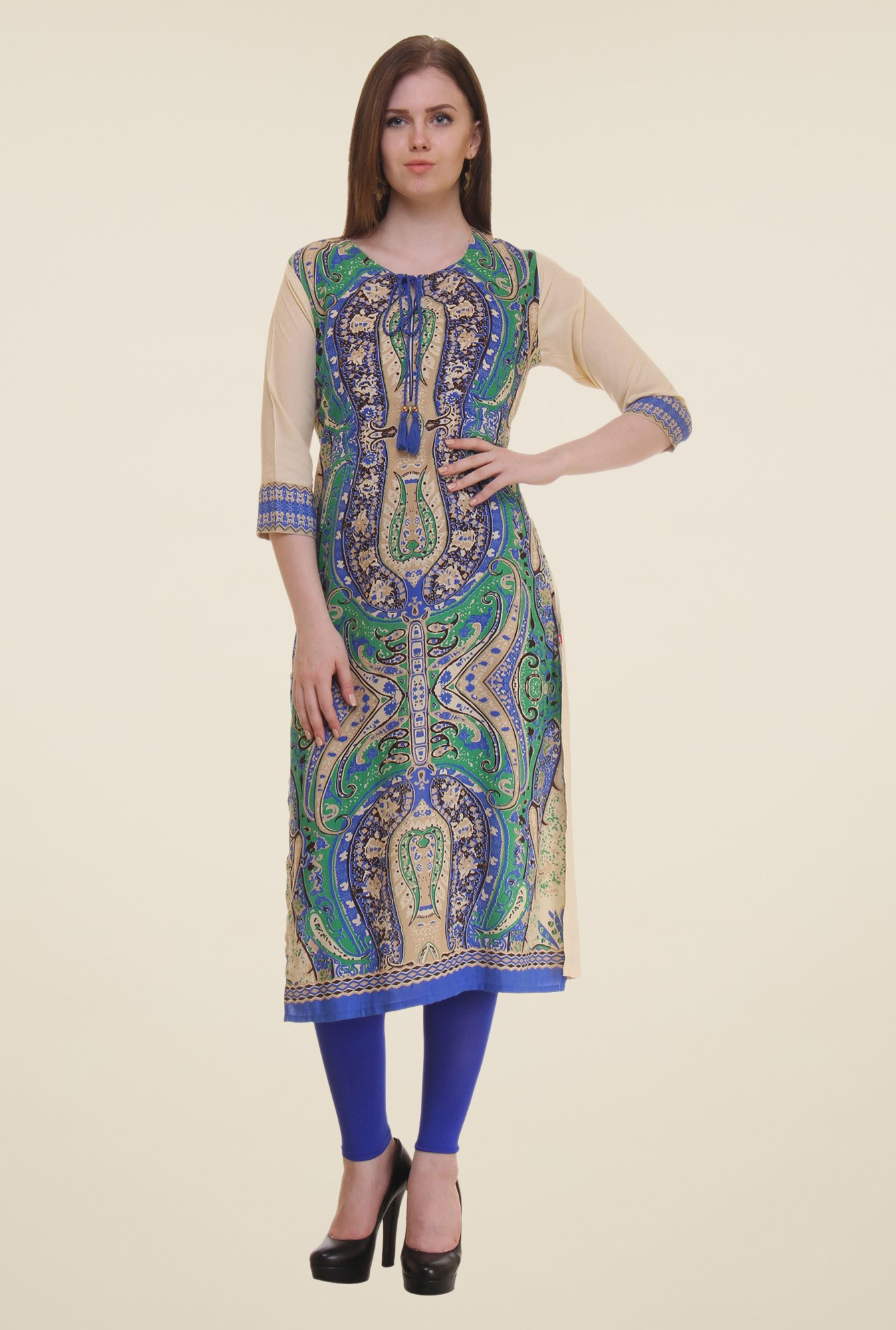 Shree Beige & Blue Printed Rayon Kurta