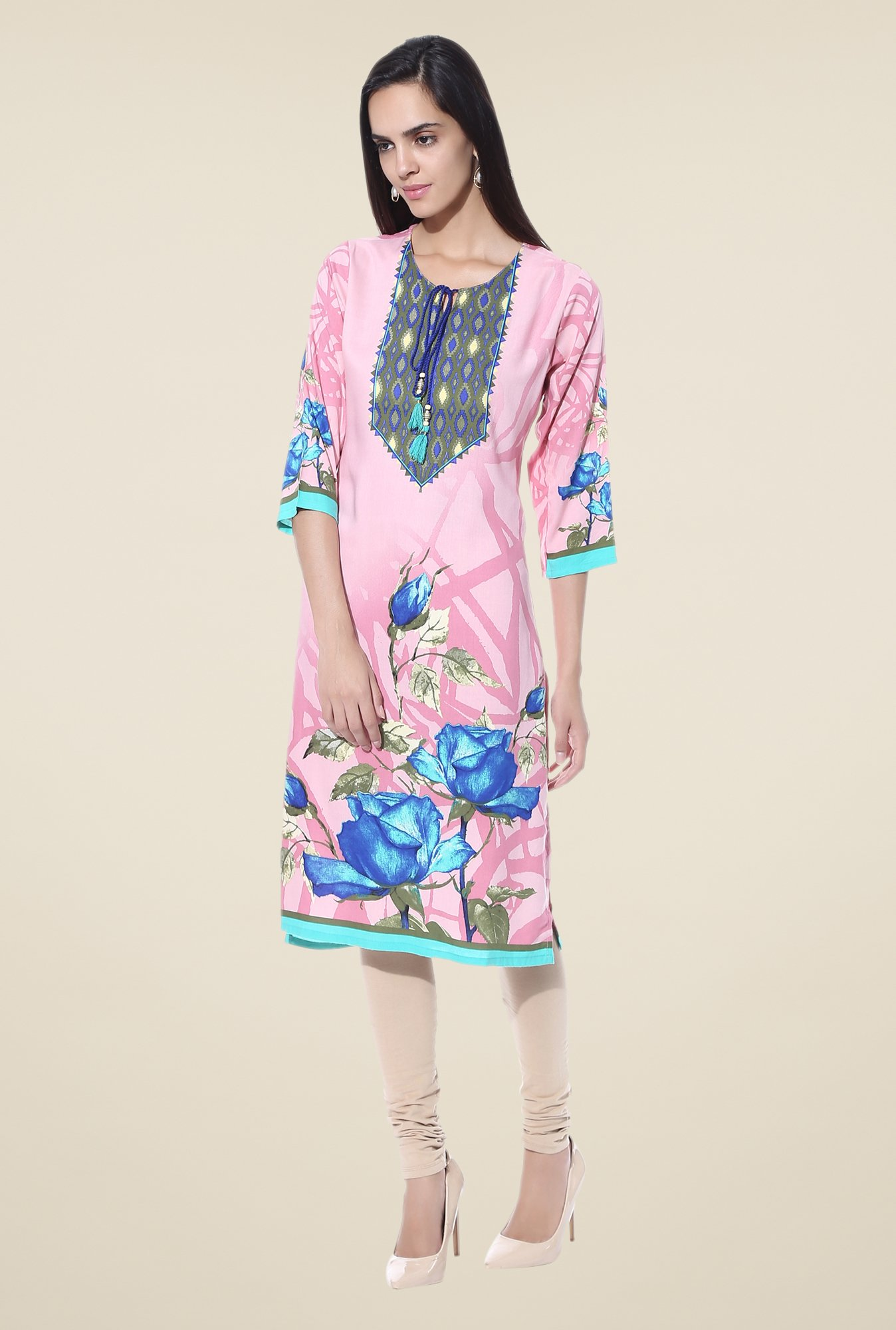 Shree Pink & Blue Printed Rayon Kurta
