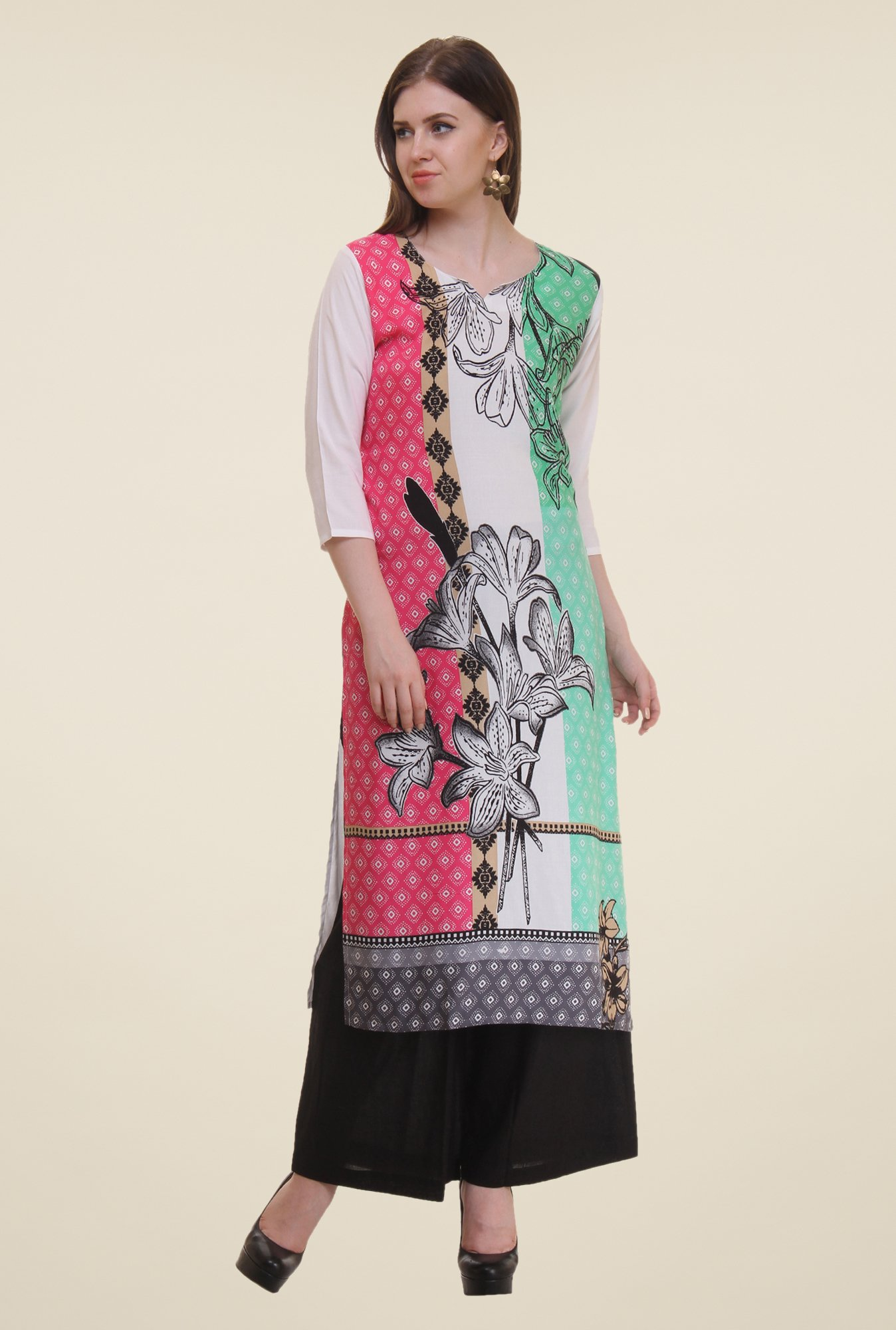 Shree Off White & Pink Floral Print Rayon Kurta