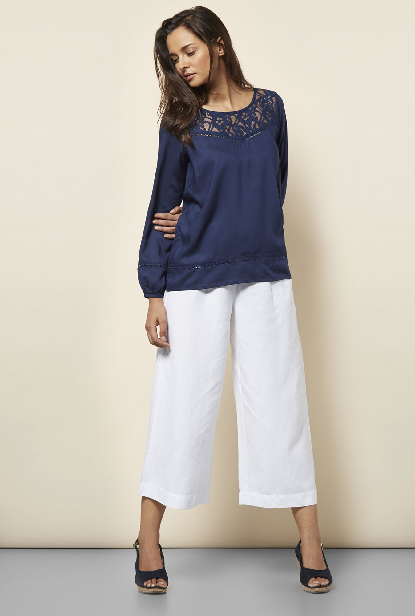 Cottonworld Solid Navy Blouse