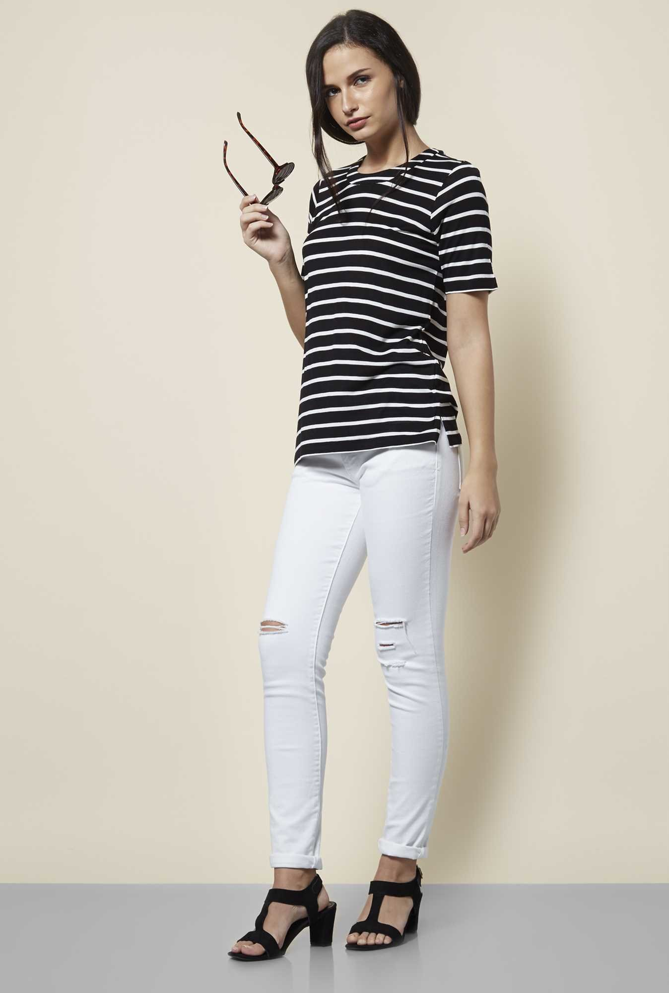 Cottonworld Stripe Black & White T Shirt
