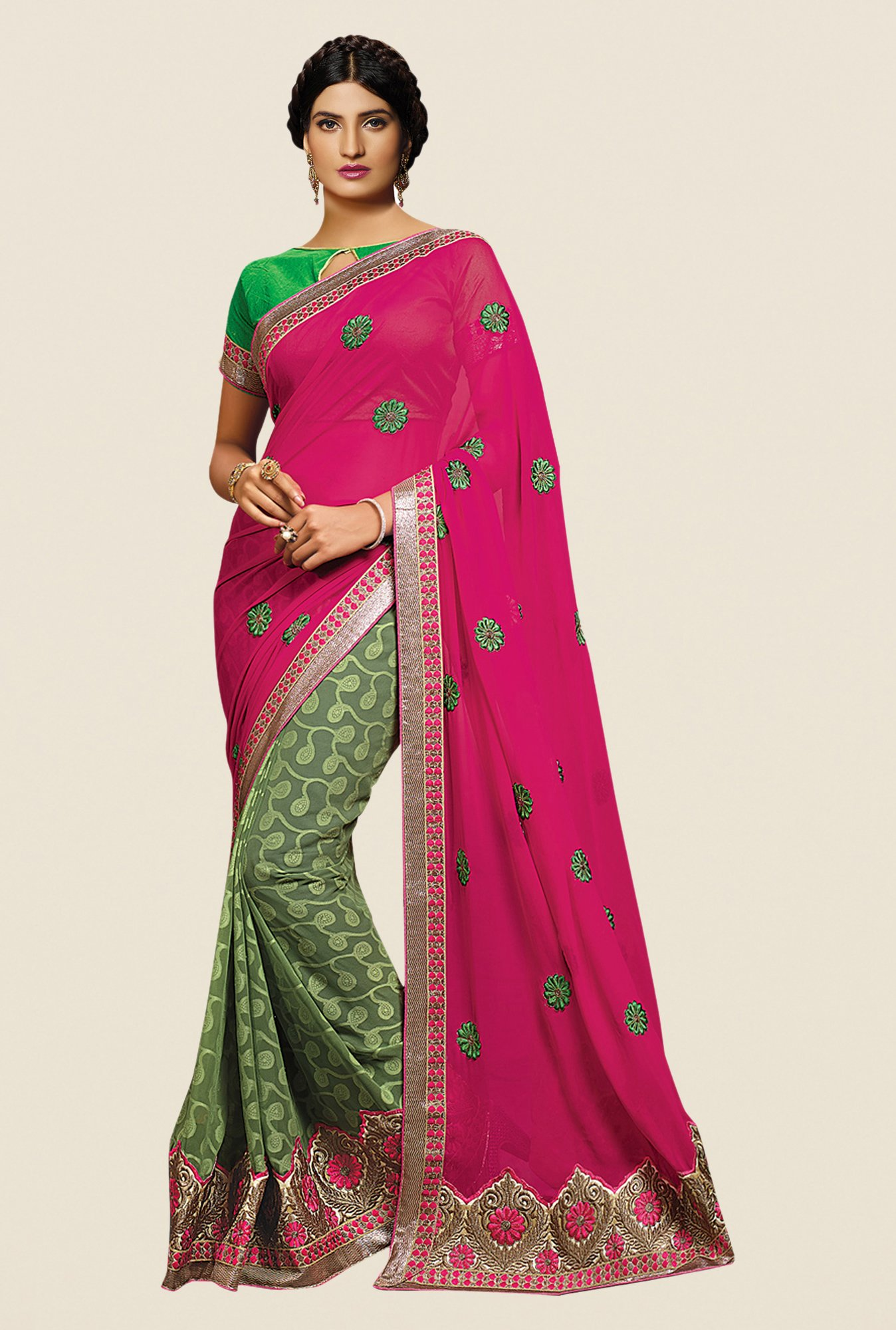 Shonaya Green & Pink Georgette Embroidered Saree