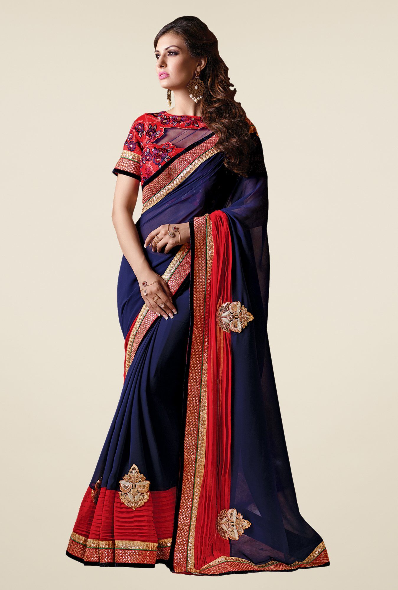 Shonaya Navy & Red Georgette Embroidered Saree