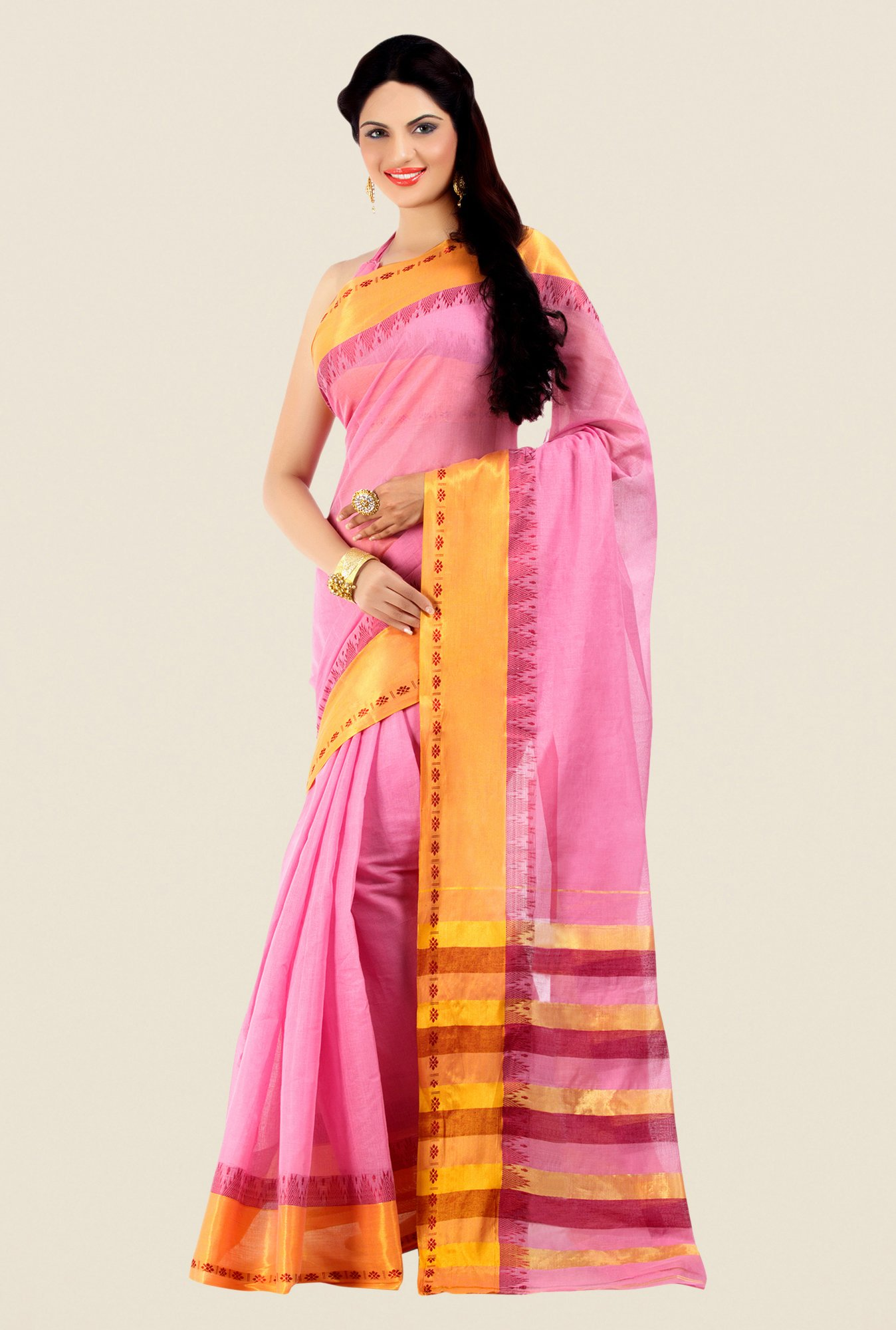 Shonaya Pink & Golden Cotton Silk Printed Saree