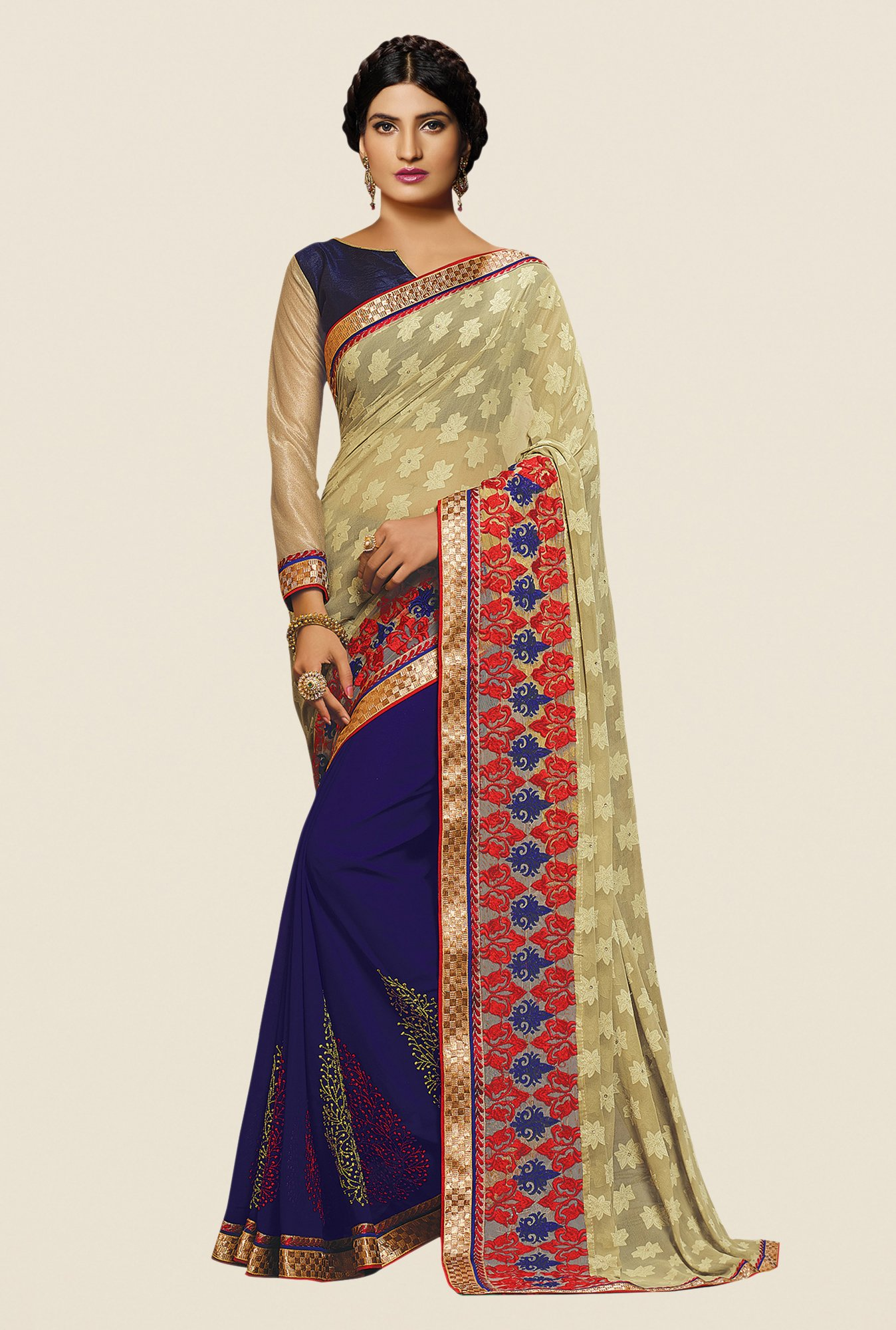 Shonaya Blue & Beige Georgette Embroidered Saree