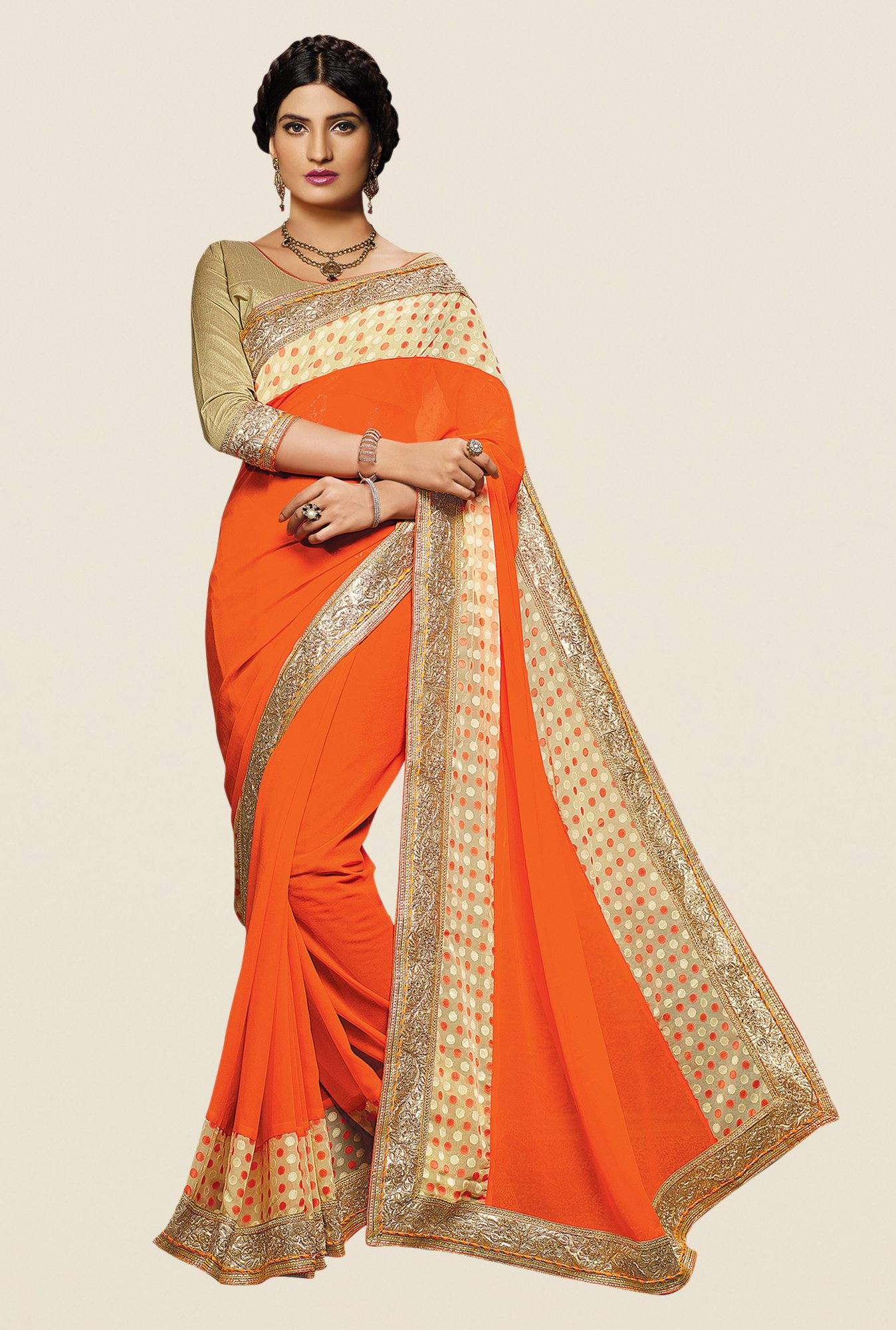 Shonaya Orange Georgette Embroidered Saree