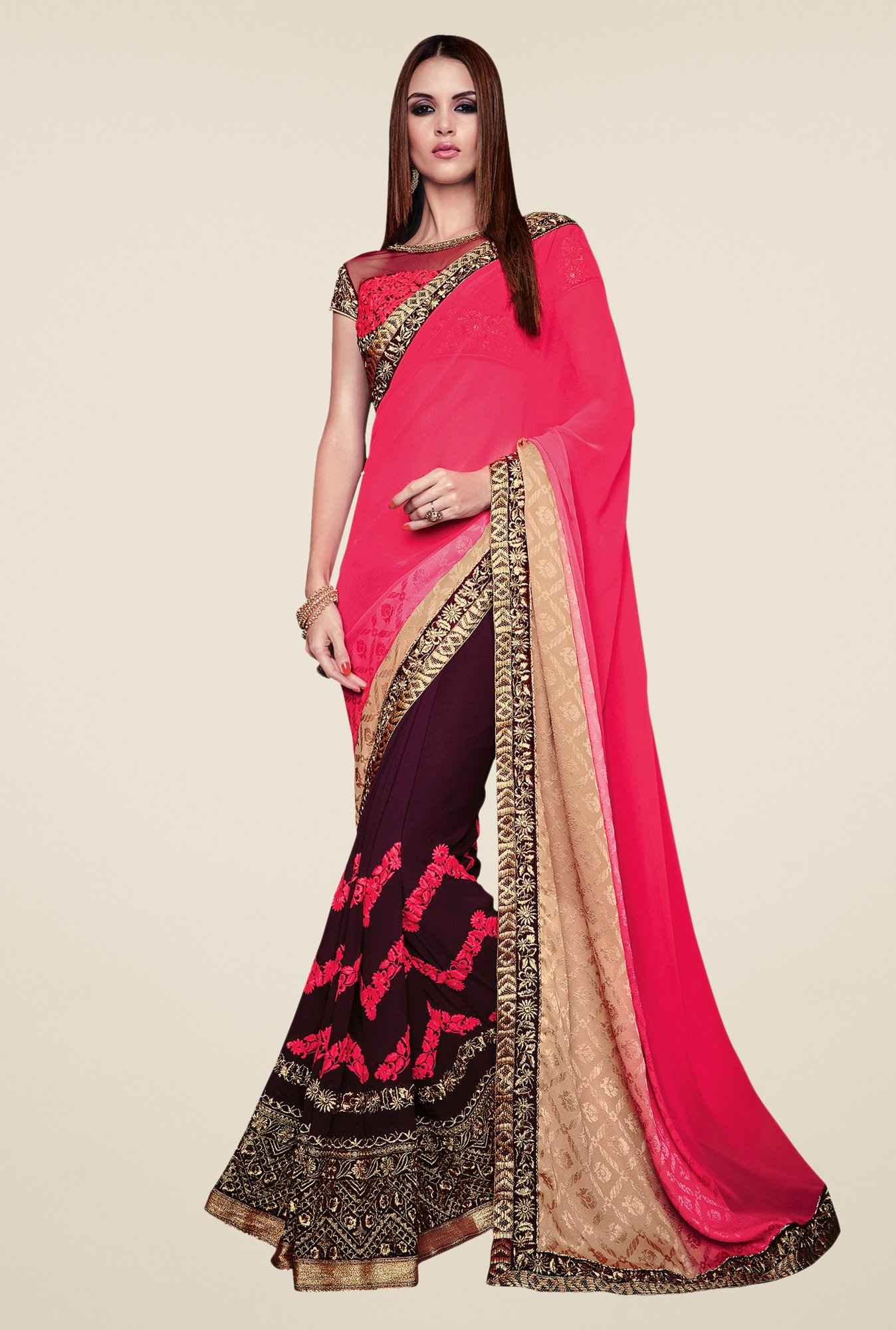 Shonaya Pink & Purple Jacquard & Georgette Embroidered Saree
