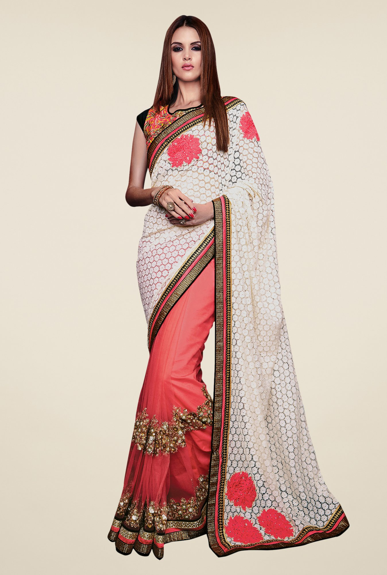Shonaya Pink & White Net & Cotton Embroidered Saree