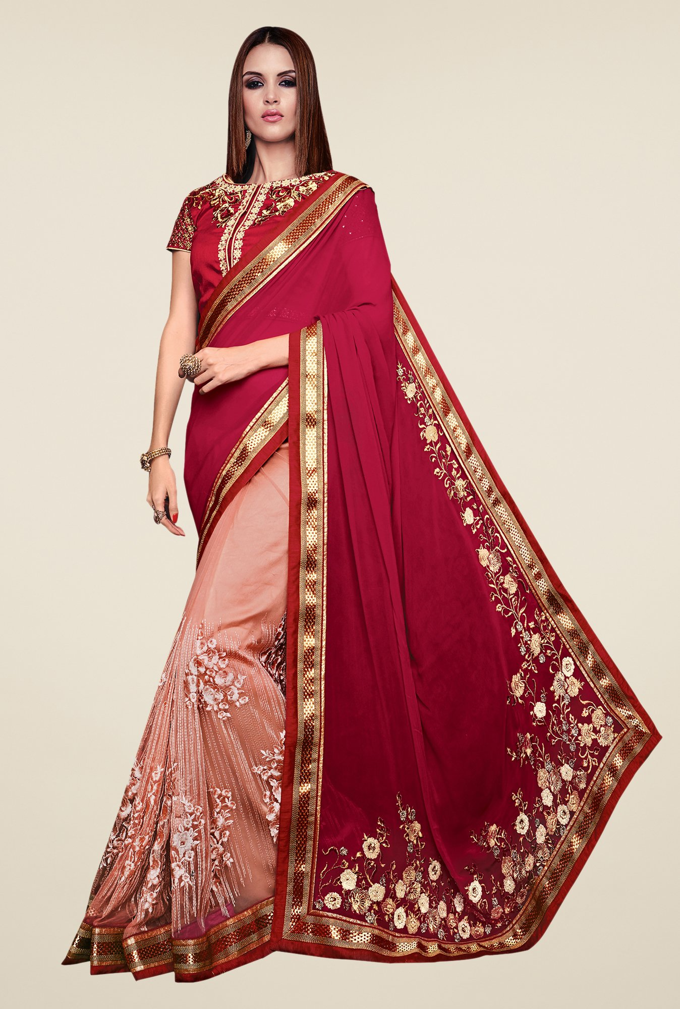 Shonaya Maroon & Peach Georgette & Net Embroidered Saree