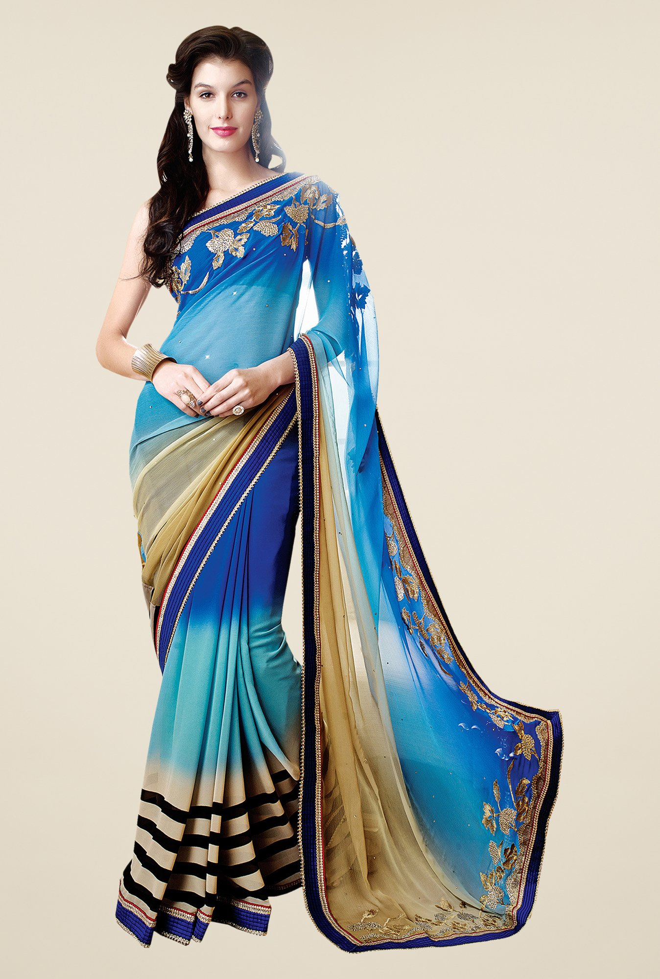 Shonaya Blue & Beige Faux Georgette Embroidered Saree