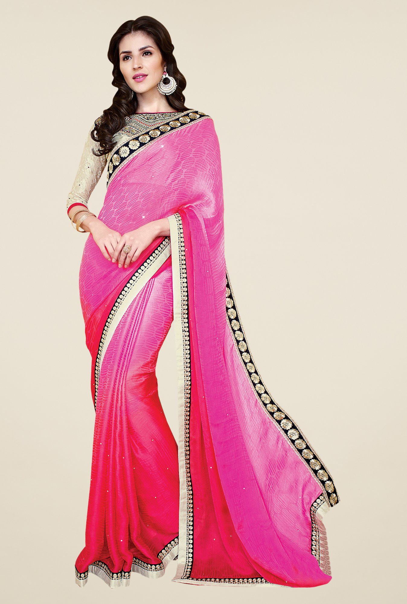 Shonaya Pink Embroidered Saree