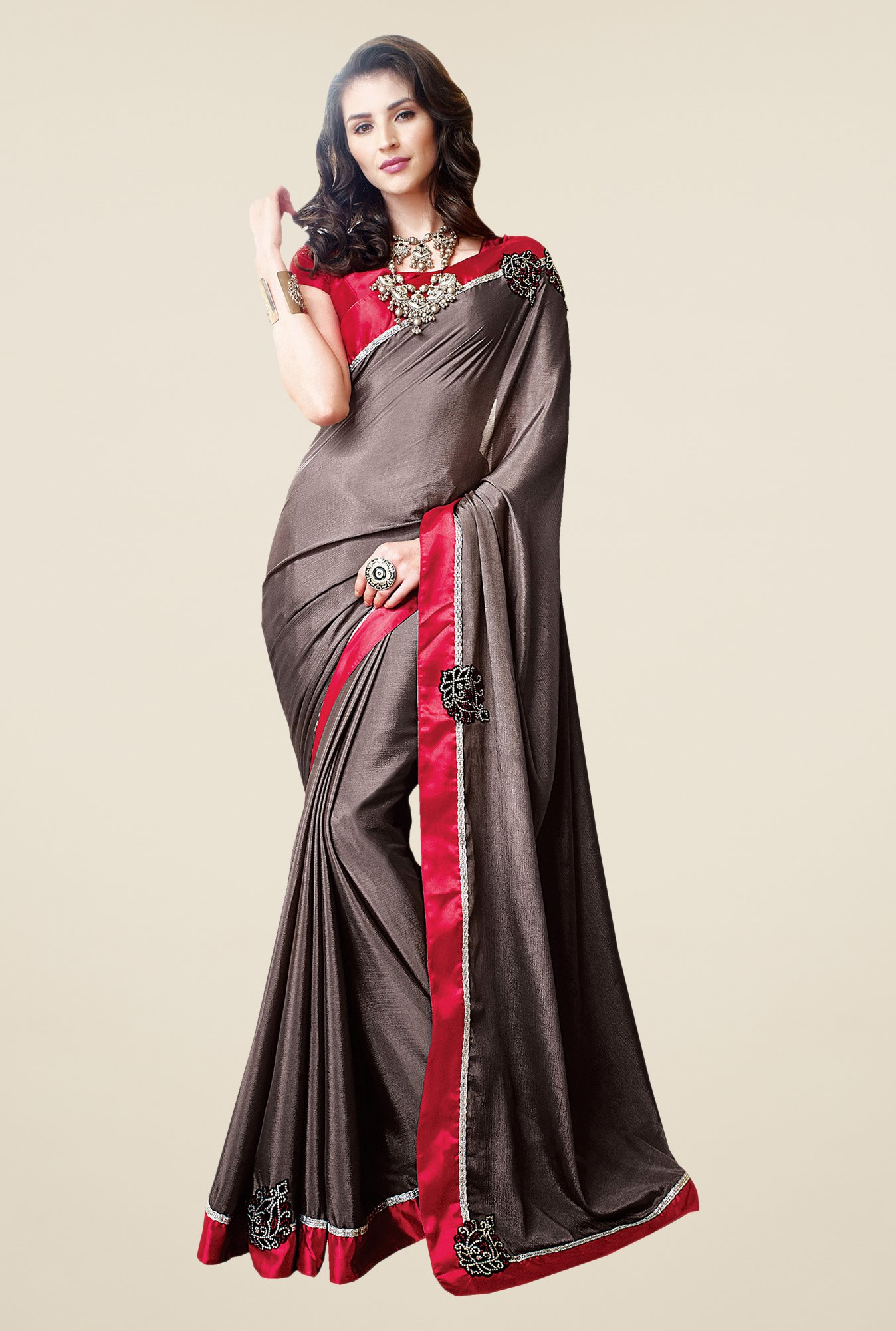 Shonaya Grey Chiffon Solid Saree