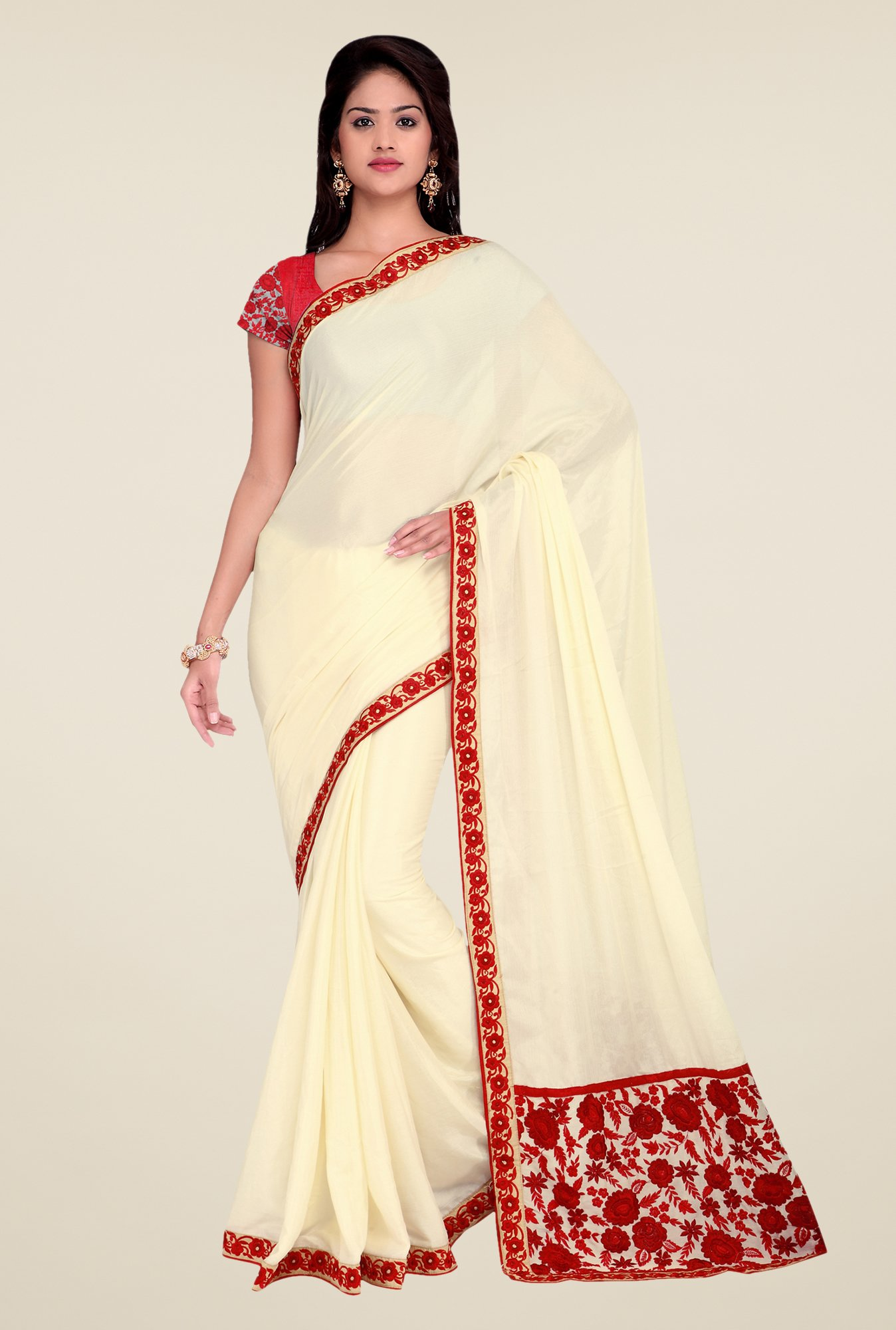 Shonaya Cream Crepe Chiffon Embroidered Saree