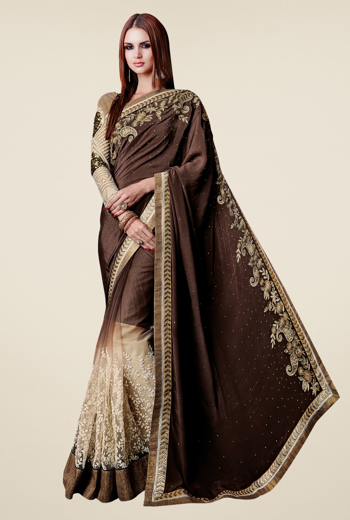 Shonaya Brown & Beige Satin & Net Embroidered Saree